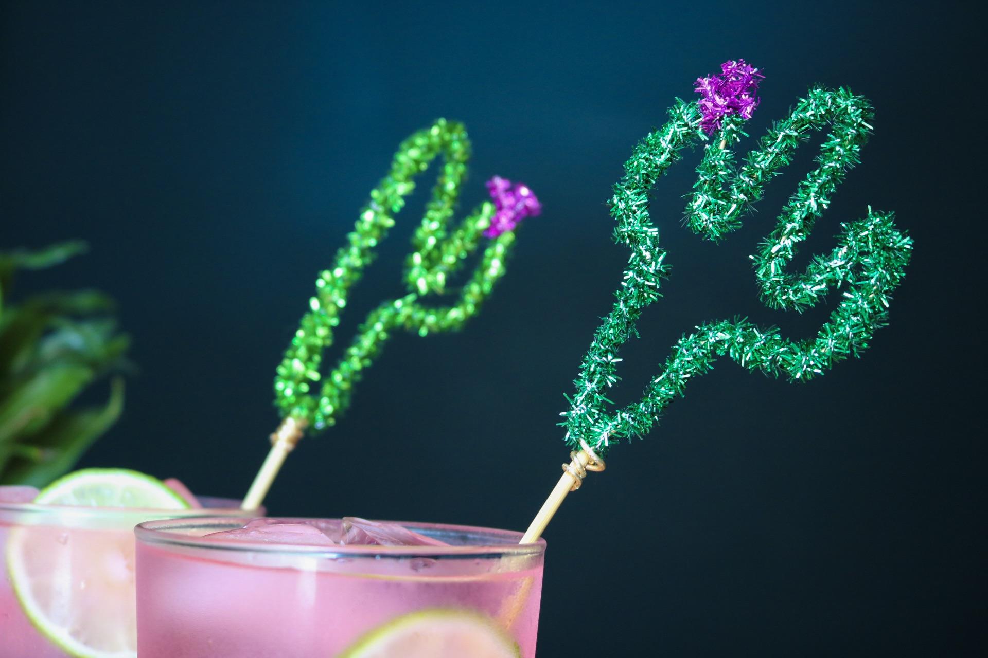 Pipe Cleaner Cactus Cocktail Stirrers #festiveflourish #cocktailrecipes #cocktailstirrers #diypipecleanercraft #cactus #cincodemayo #summerdrinks #summerdiy #summer