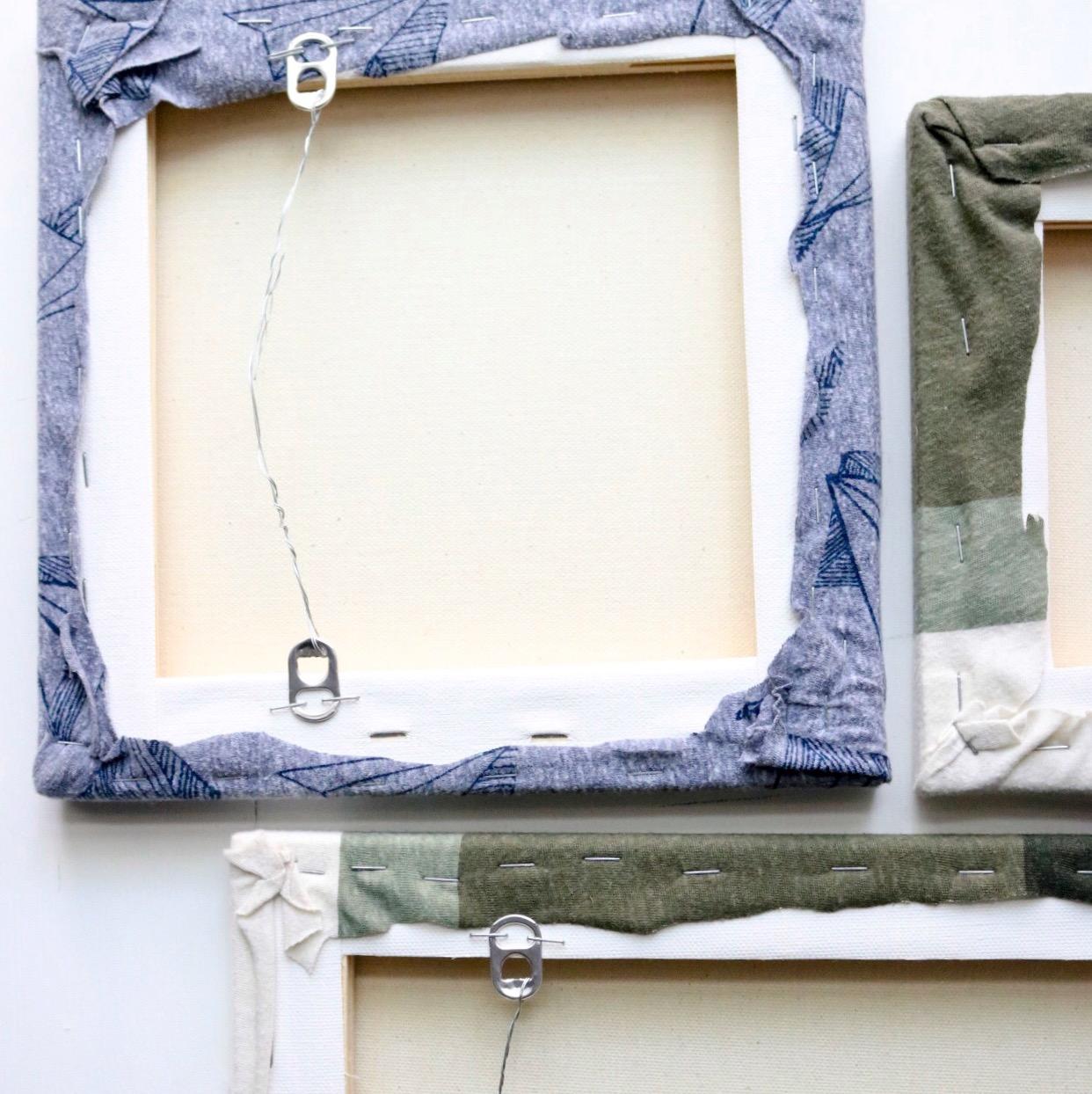 DIY T-Shirt Canvas Art    #upcycle     #tshirt     #tshirtdiy     #wallart    #oldshirts #walldecor #thrifty #craftylumberjacks #easydiy #wallart #hangingwallart #apartmentliving #tshirtcraft #oldtshirts #canvasart
