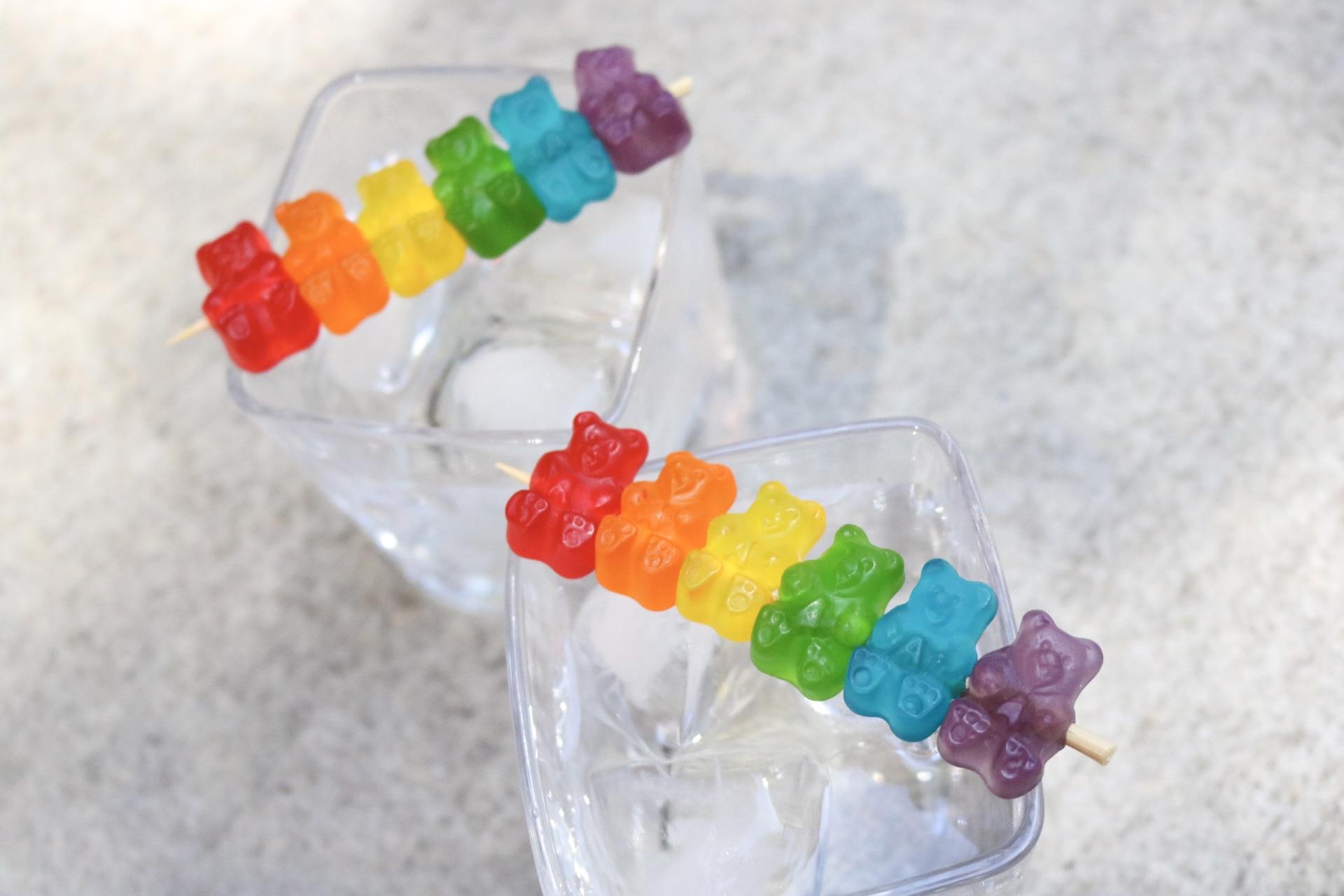 Rainbow Gummi Bear Cocktail Stirrers #gaypride #gaybears #gay #LGBTQ #NYC