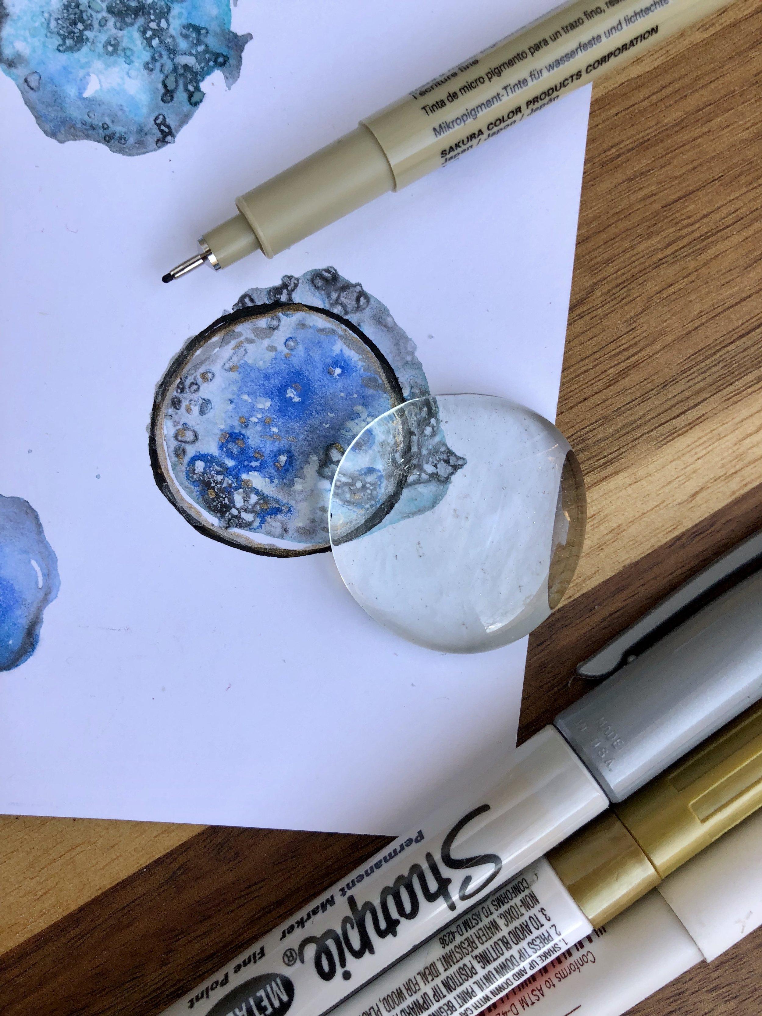 Watercolor Geode Magnet DIY
