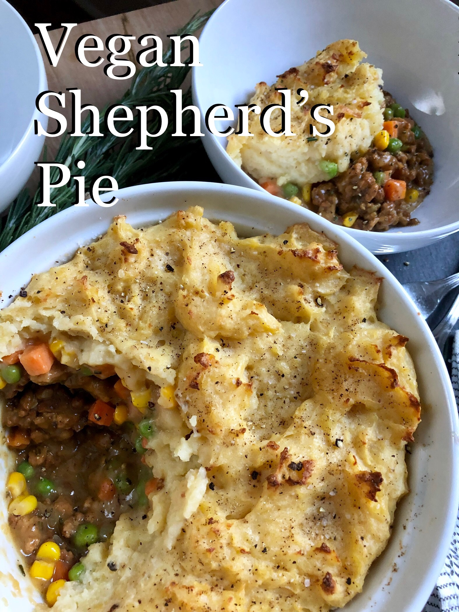 Vegan Shepherd's Pie with tofu crumbles, instant pot mashed potatoes and homemade gravy.