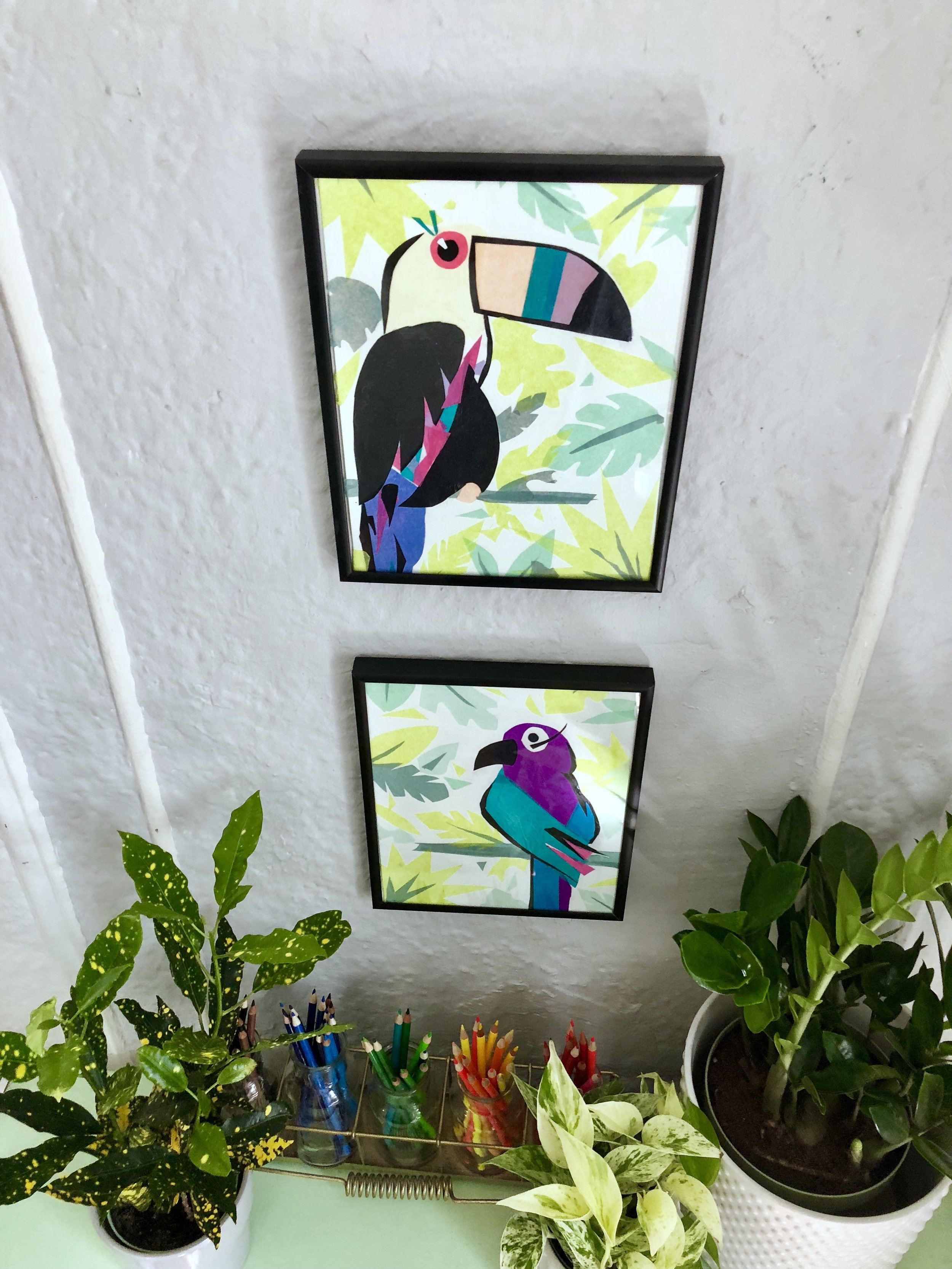 Tropical Bird Tissue Paper Art - Cut out shapes, layer and glue with Mod Podge and a paint brush. #tissuepaper #tissuepapercrafts #tissuepaperart #tropiocalbirds #walldecor #wallart #toucan #cheapwalldecor #modpodge
