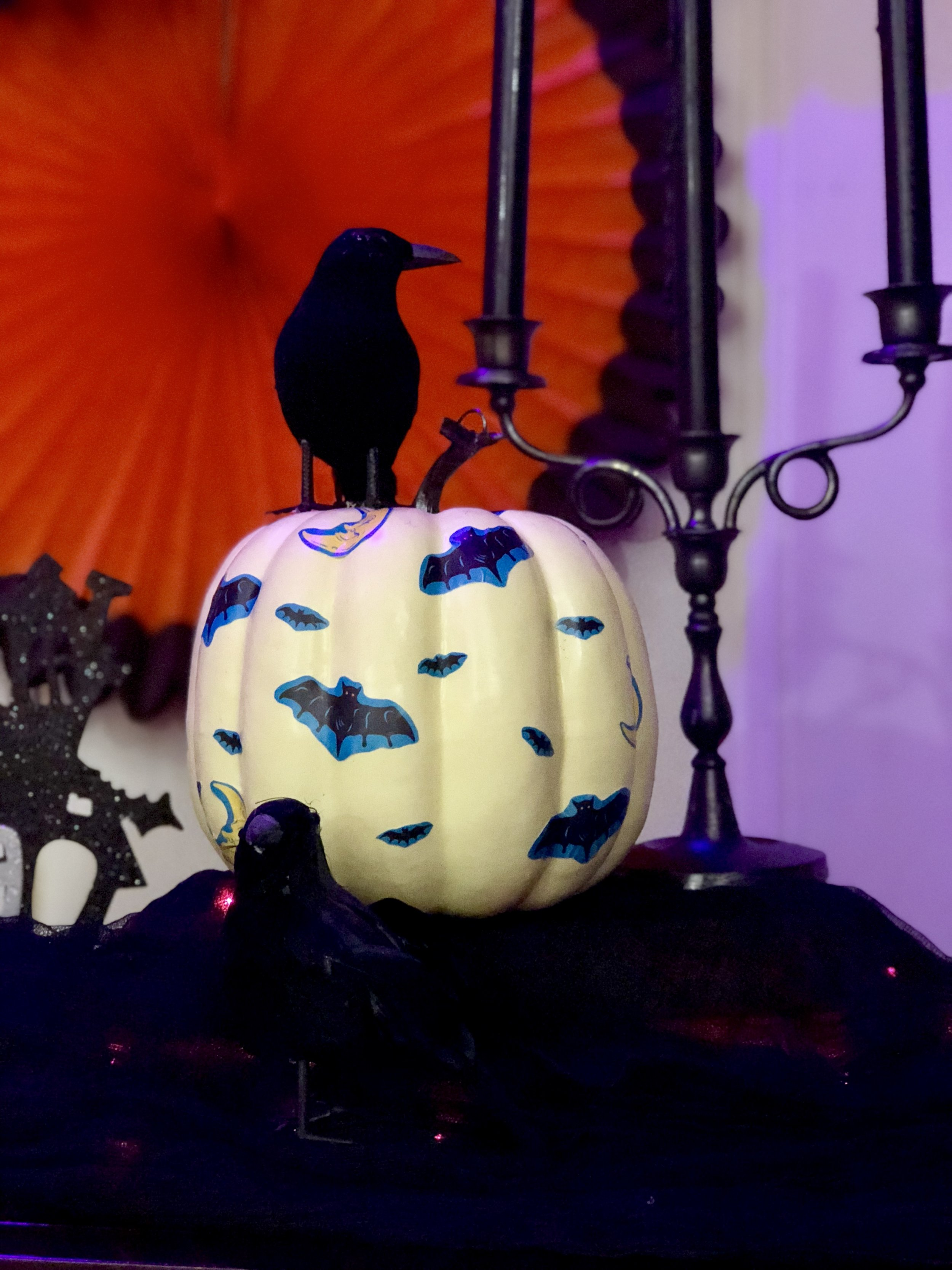 No carve pumpkin, no mess Mod Podge Halloween decoupage pumpkin DIY