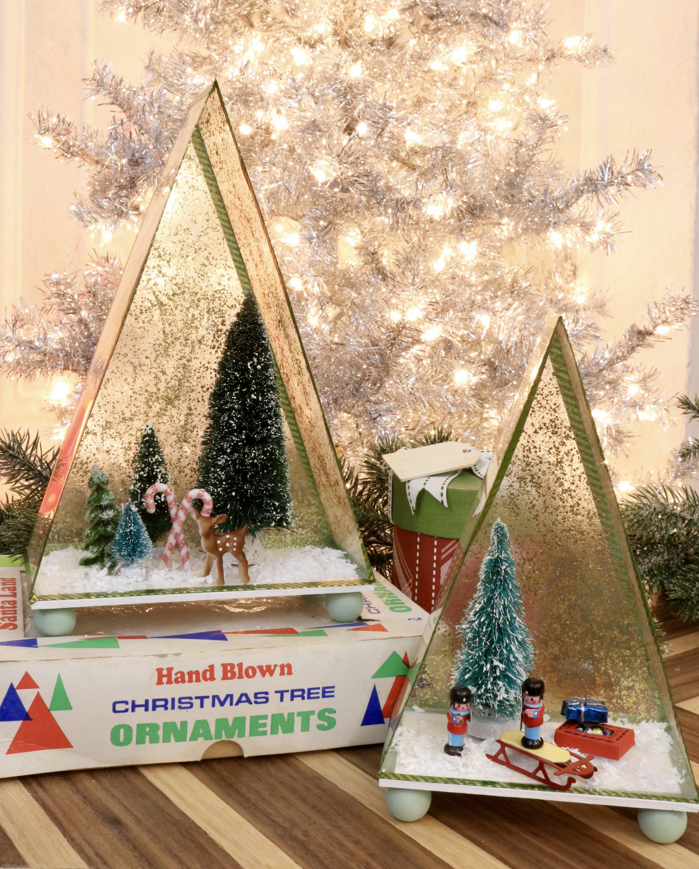 DIY Vintage Inspired Christmas Shadow Box using Mod Podge Mega Glitter and Shrinky Dinks paper. #vintgechristmas #Shrinkydinks #bottlebrushtrees #modpodge #plaidcrafts #christmasminiatures #christmasvillage #christmasdecorations #christmascrafts