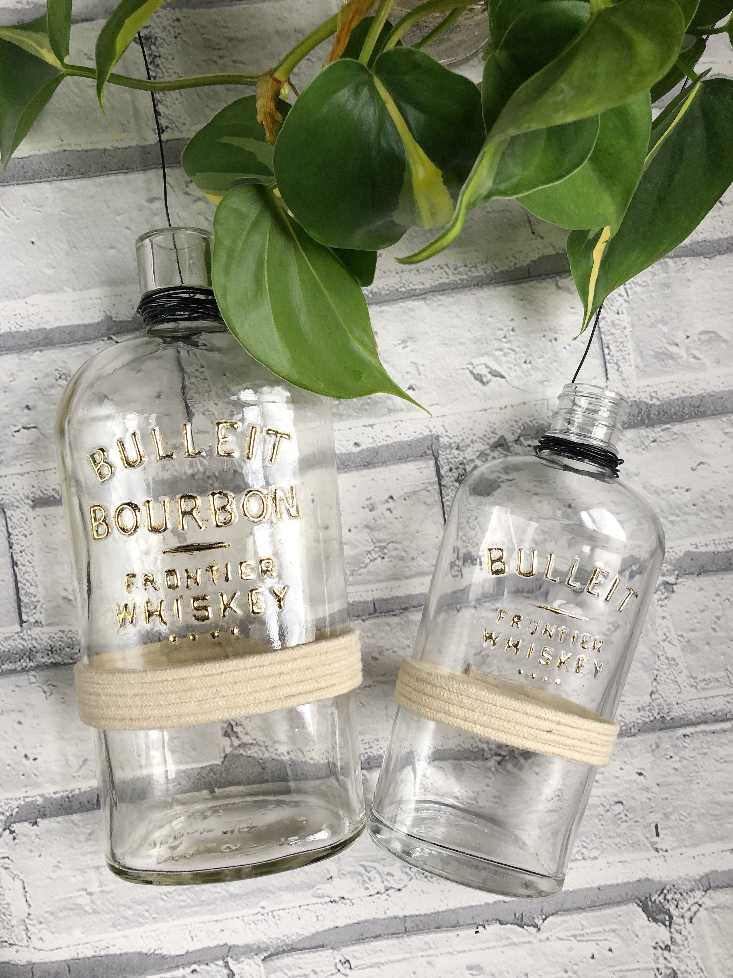 Gold Leafed Upcycled Bulleit Whiskey Bottle Planters