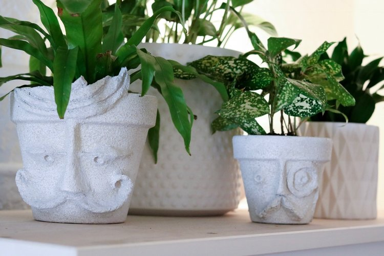 DIY Paper Mache Terracotta Faces   #papermache     #upcycle     #pottery    #pots     #houseplantclub     #houseplants    #homedecor     #facemask