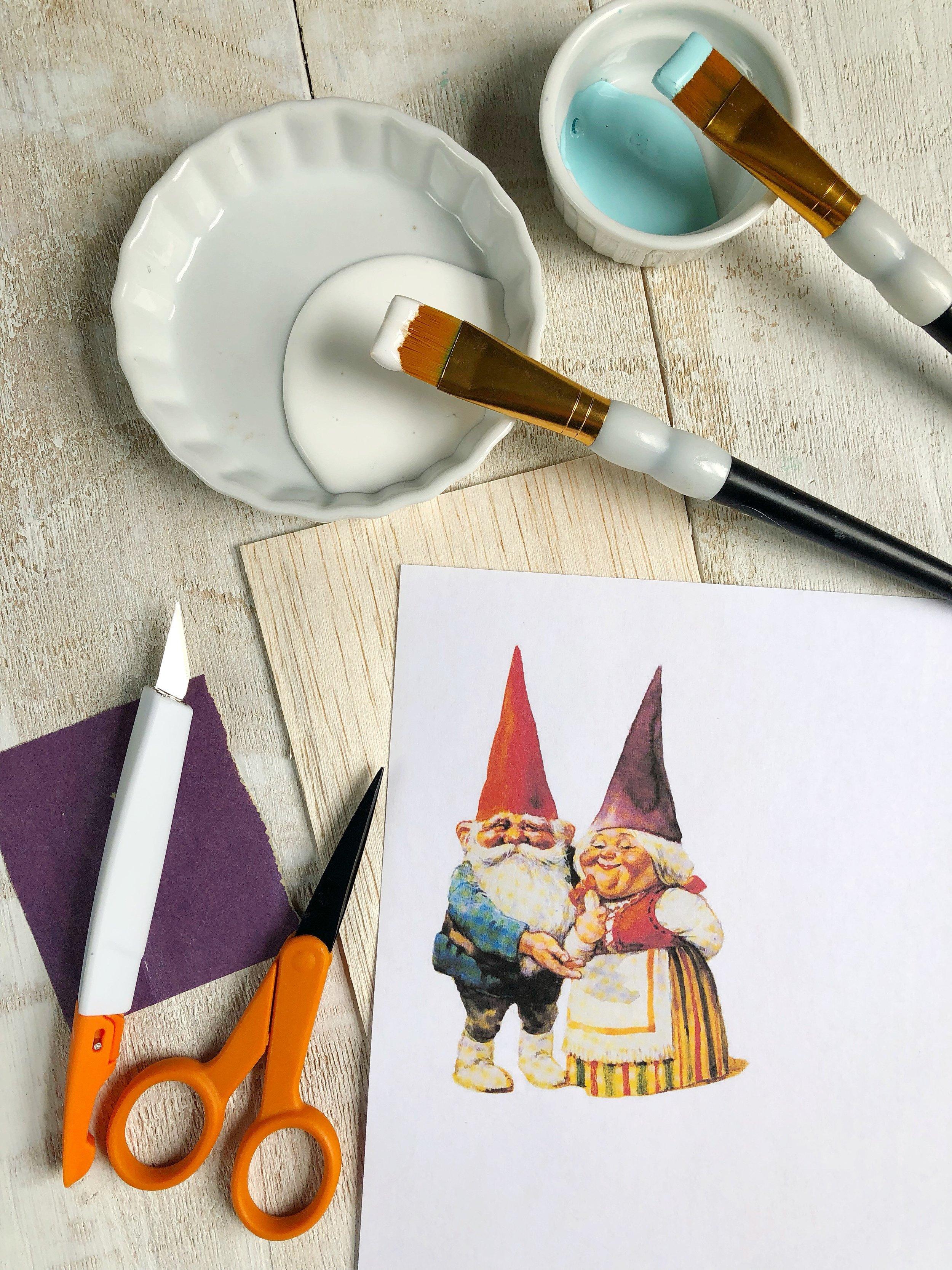 Wooden Gnome Garden Stake DIY   #houseplants #gardengnome #gnomes #indoorplants #indoorgarden #balsawood #plantstake #gardendiy #greenthumb #acrylicpaint #google #googleimages #vintage