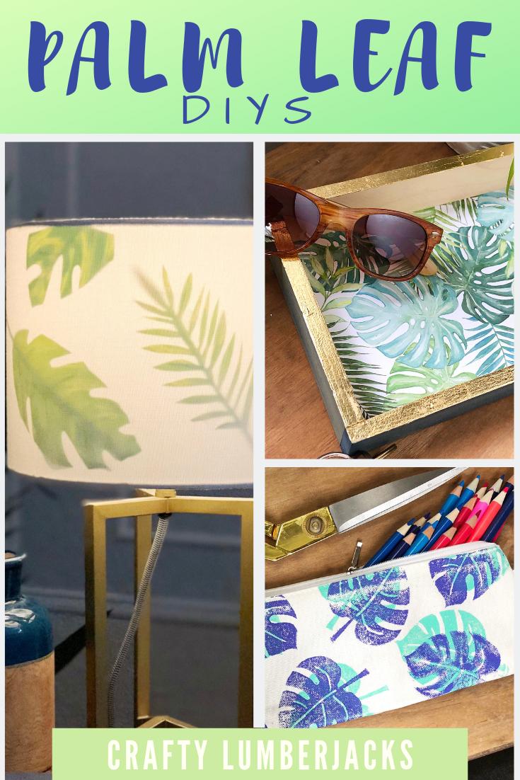 4 Easy Palm Leaf DIY's for the summer!   #goldengirls #summerdiy #stampyourartout #diystamp #blockprint #palmtrees #summer #diylampshade #lampshadeupdo #tropicalleaves #homedecor #beach #beachhouse #monsteraleaf #tropicalleaf
