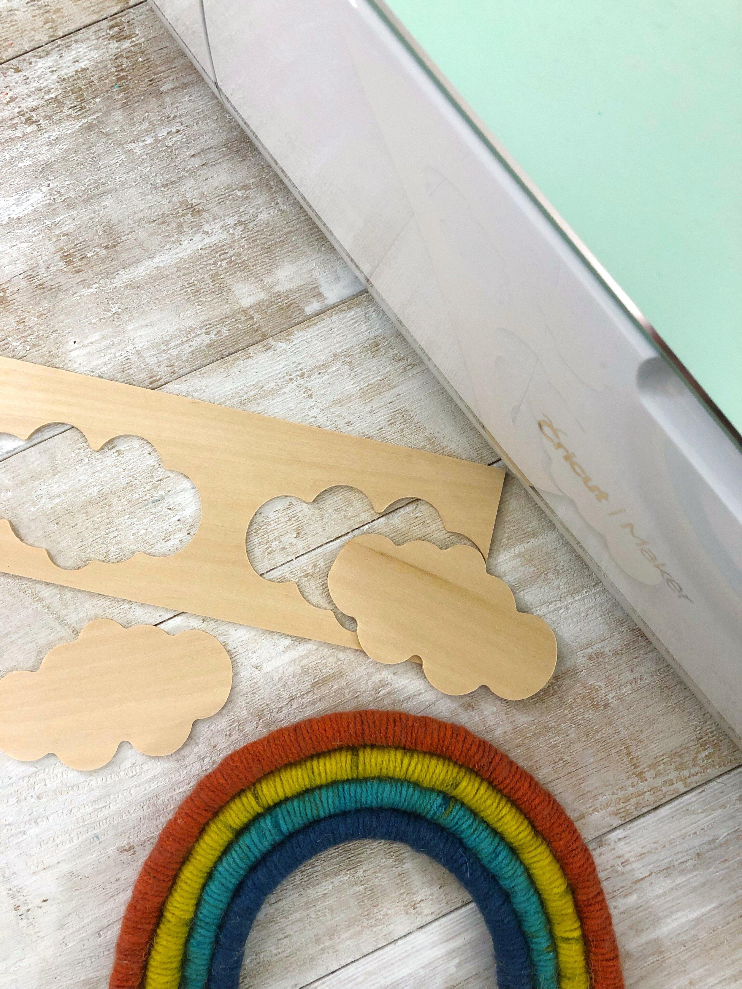 Rope Rainbow Wall Art Decor  #pride #yarn #wallart #walldecor #rainbow #rainbowcraft #summer #summerdiy #summercrafts #cricutmaker #cricut #balsawood #nursery #basswood #homedecor #yarncraft #yarnprojects #gaypride #colorblocking
