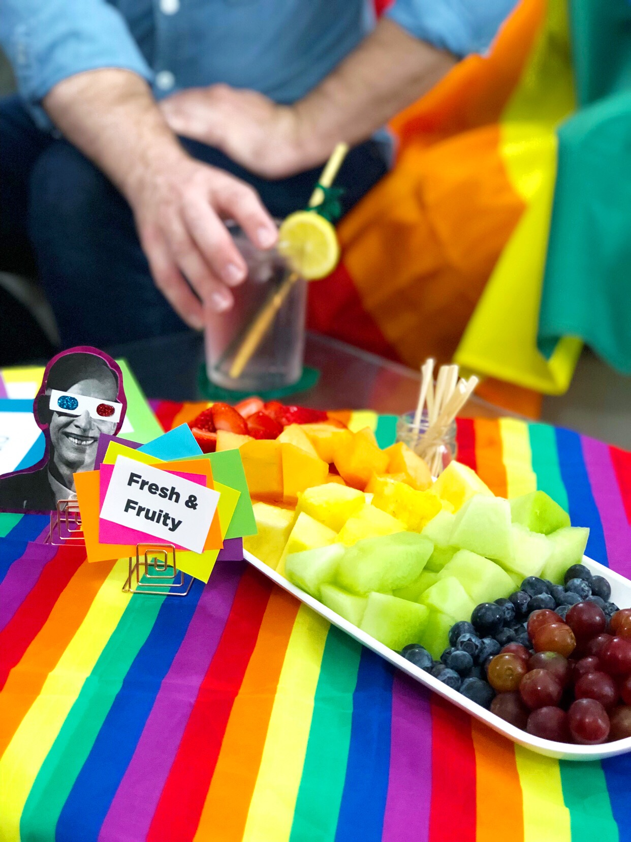 Tips, games and more for hosting the ultimate Rainbow Party for Pride!  How to Celebrate Pride Month at Work, How to Celebrate Pride Month at Office How to Celebrate Pride Month at Home, How to Host a Party #TreetopiaLoudAndProud #TreetopiaPrideMonth #LoveEqualityPride #LoveIsLove #PrideParade #PrideMarch #PrideEvents #wreath #cher #gaypride #gayboyfriends #prideswag #pridecocktail #rupaul #rupaulsdragrace