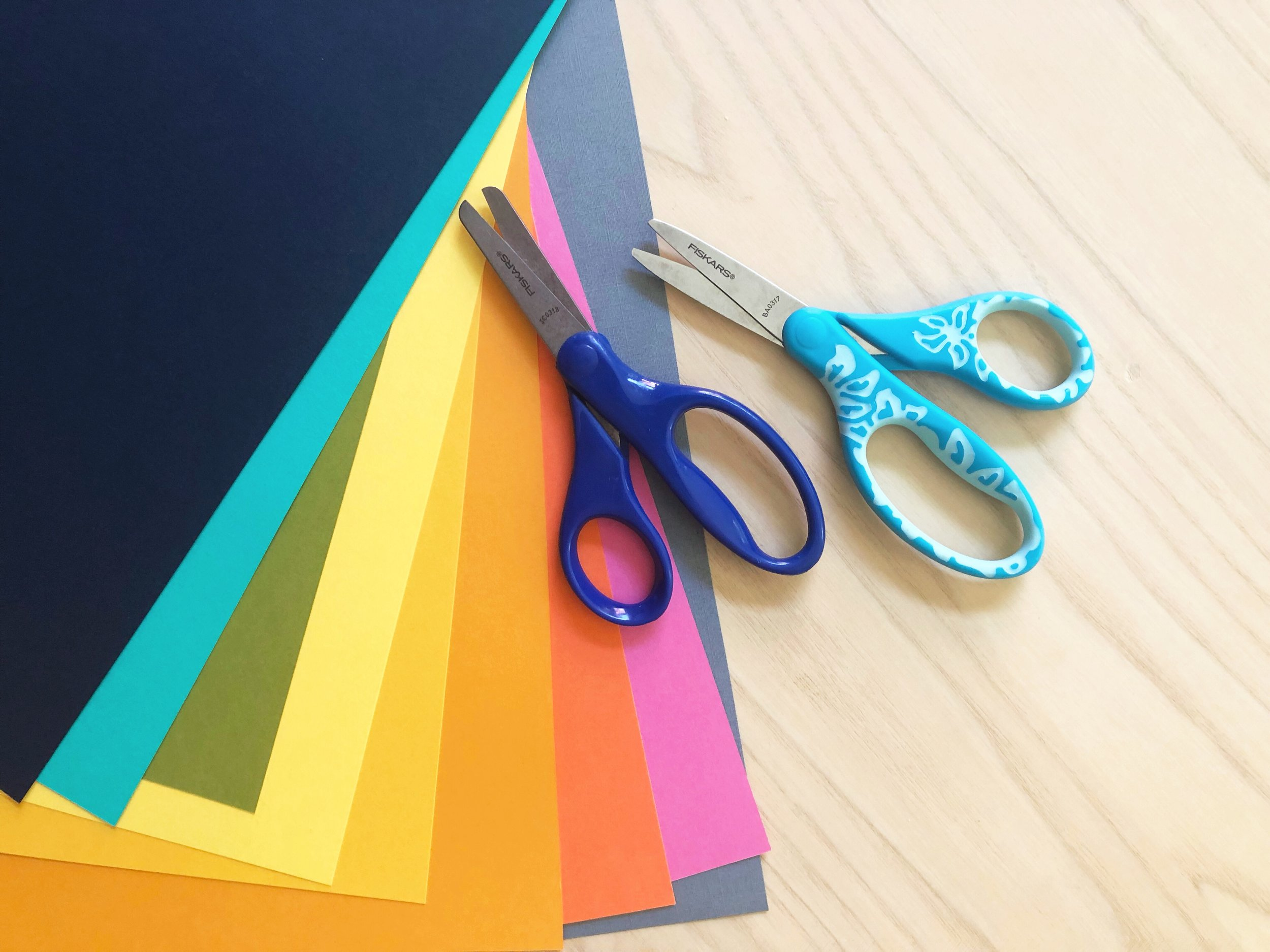 DIY Back to School Notebook Covers - Create easy DIY back to school paper collage notebook covers! And learn about cutting tips and tricks as well as safety tips for kids with scissors!  #Fiskarspartner #backtoschooldiy #schoolsupplies #fiskars #schooldiy #craftsforkids #easycraftsforkids #popart #papercollage #teacherrecommended #gayuncles #craftylumberjacks