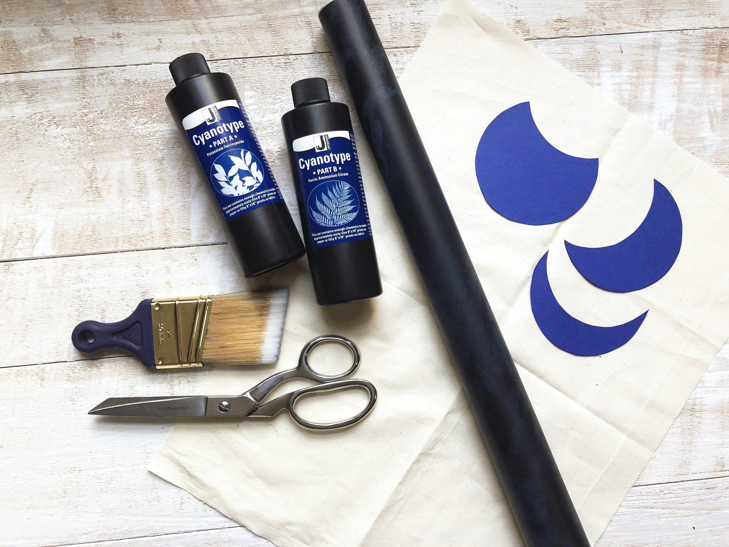 How to Sun Print a Phases of the Moon Wall Art ~ DIY Cyanotype on Fabric #homedecor #wallart #phasesofthemoon #sunprinting #cyanotype #easydiy #mystic #fabric