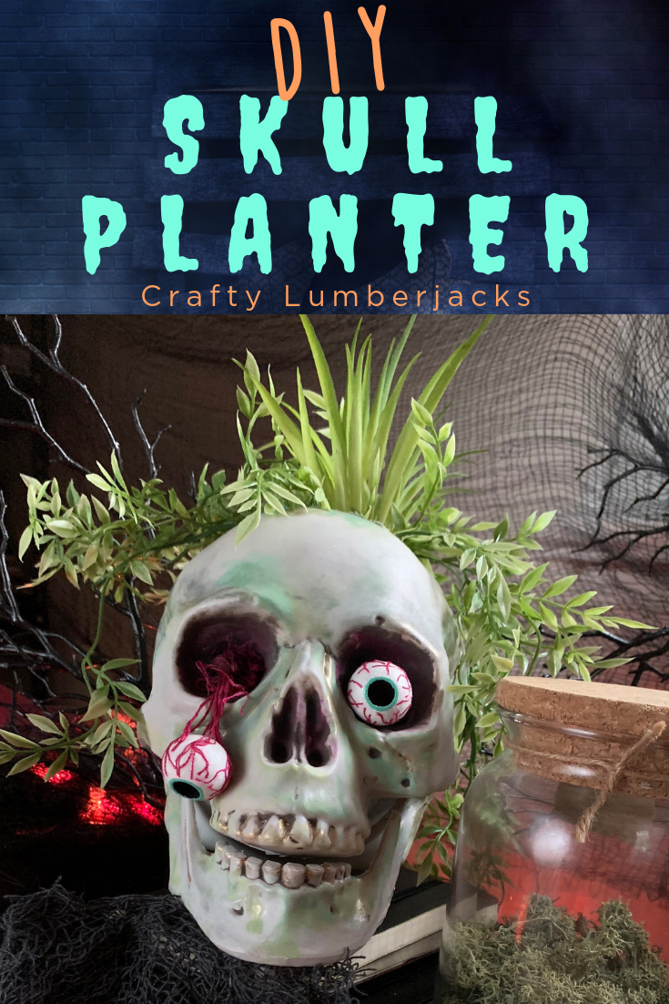 Easy DIY Skull Planter for Halloween - Take a plain skull from the dollar store or craft store and turn it into a spooky and fun skull planter!  #halloweendecorations #halloweencrafts #booityourself #halloweendiy #diyhalloween #easyhalloween #hallowedecor #halloweeneveryday #skullupdo #hauntedhouse #madewithmichaels