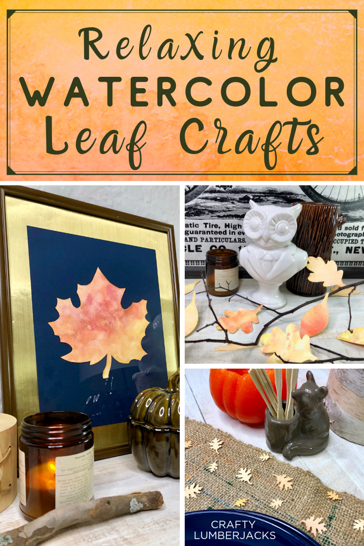 Simple and Relaxing Watercolor Leaf Crafts for Fall - Learn 4 Easy Autumn Paper Leaf Crafts.  #autumn #autumncrafts #diy #thanksgivingtable #tablescape #stressfree #crafting #modpodge #modpodgeultra #selfcare #fallhomedecor #falldecorations #falldiy