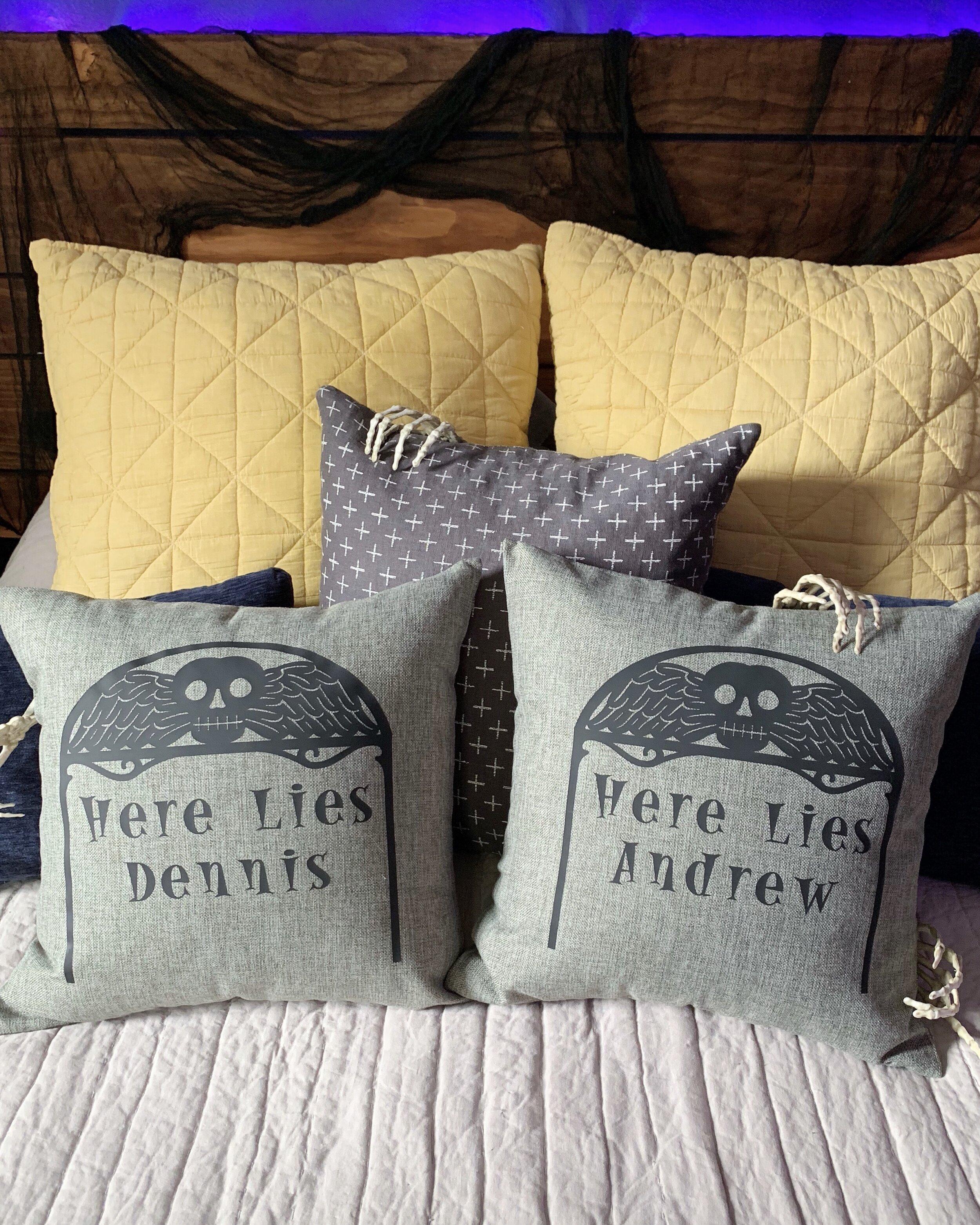 Cricut Halloween Bedroom Decor Tombstone Pillow Diy Halloween Blackout Shades Crafty Lumberjacks