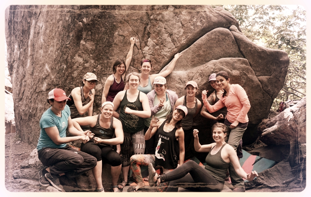 "These ladies learned about climbing ethics, proper spotting techniques, pad placement, how to fall, how to ""top out"" and bouldering technique all in one day of bouldering at Leavenworth, WA! Thank you to  Mercedes Pollmeier  for offering her free time to teach this clinic and get more women excited about bouldering outside!"
