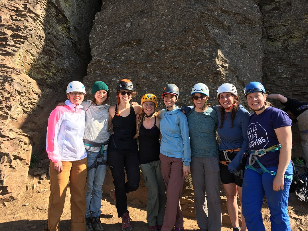 Warrior's Way Instructor and AMGA SPI Laura Sabourin, Kaf Adventures SPI Brigit Anderson, and NSM Founder, Megan Fritz along with the amazing women who participated in the Women's Warrior's Way course in Vantage, WA!