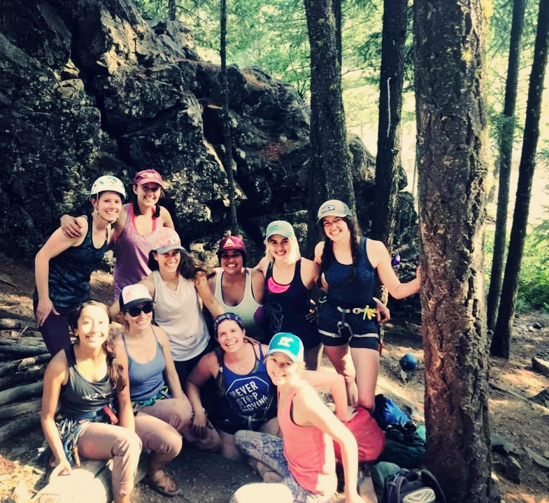 The ladies bringing it together after an awesome day climbing at Fun Rock at Mazama, WA!
