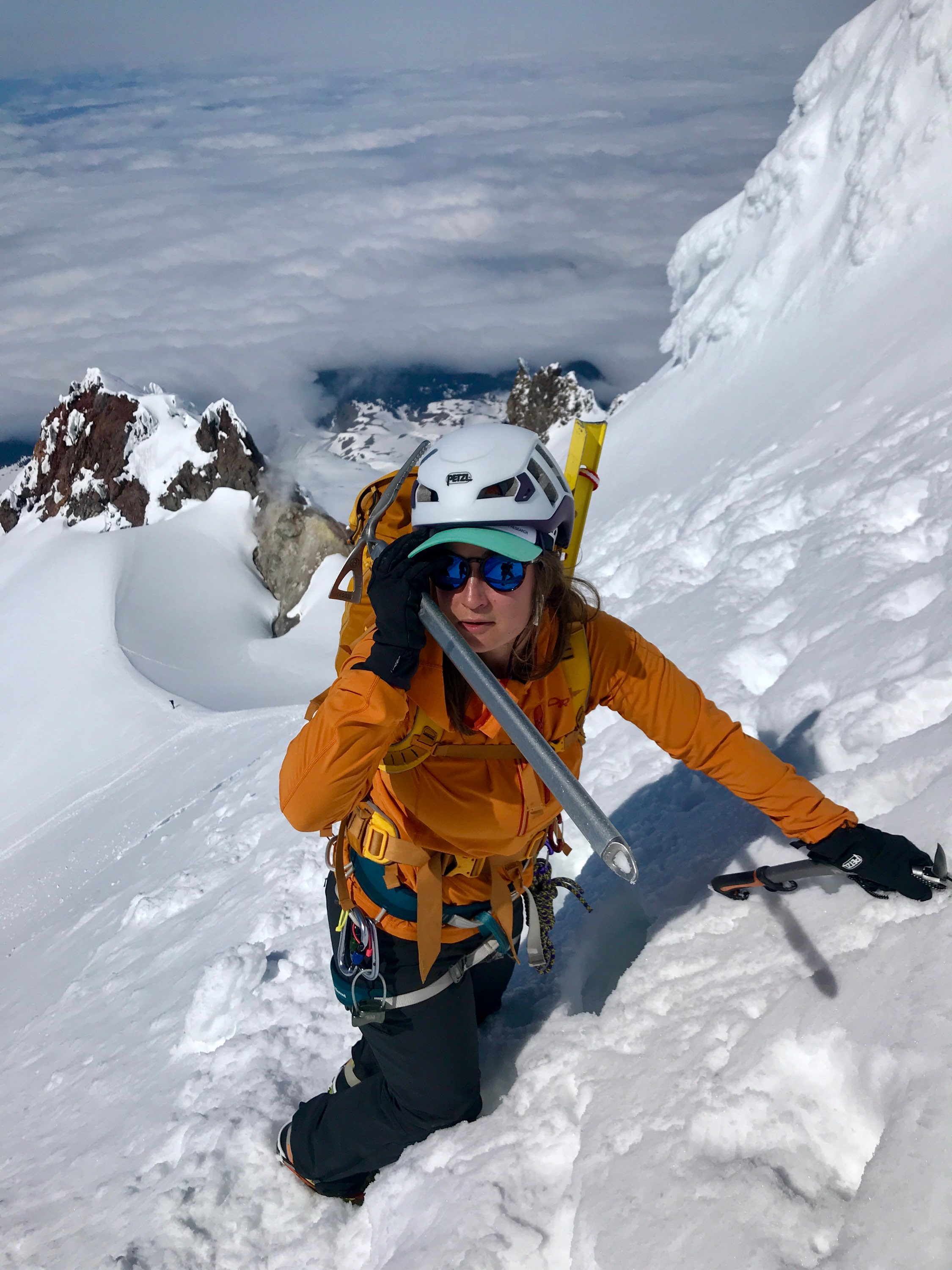 NSM member Kelsey Graner climbing the South Side route of Mount Hood