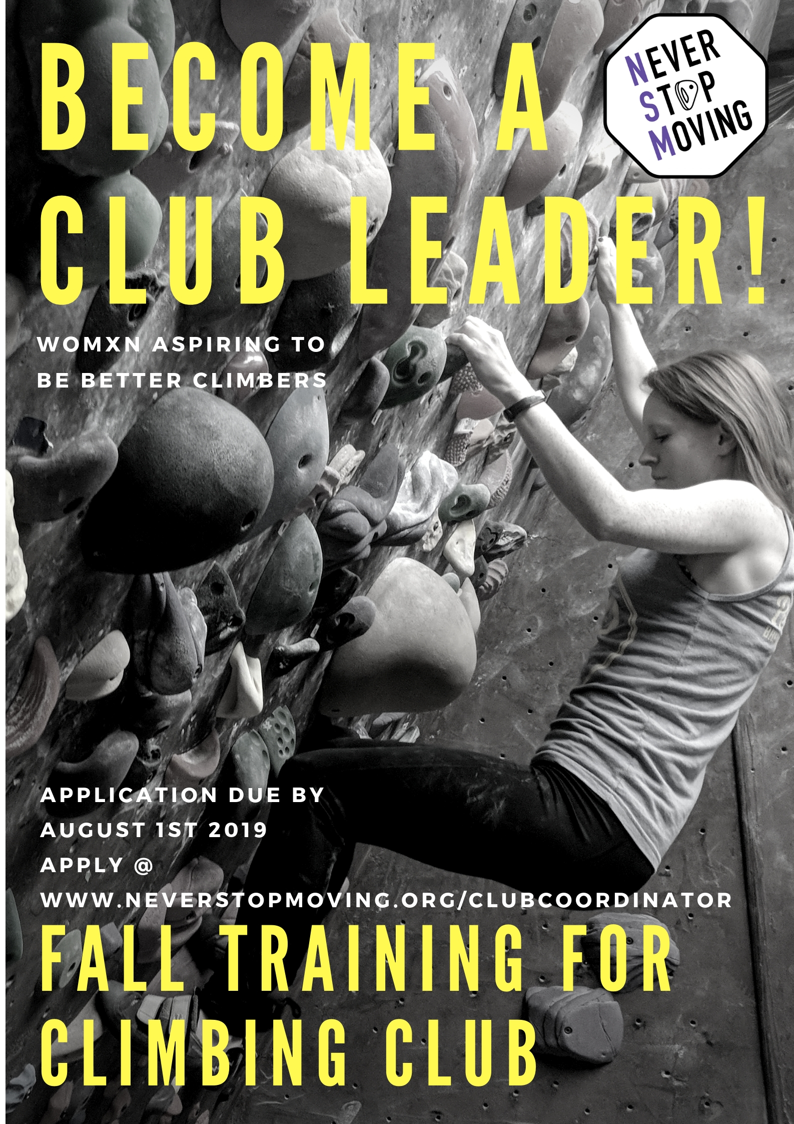 Never Stop Moving - Club Coordinator Volunteer Position Poster