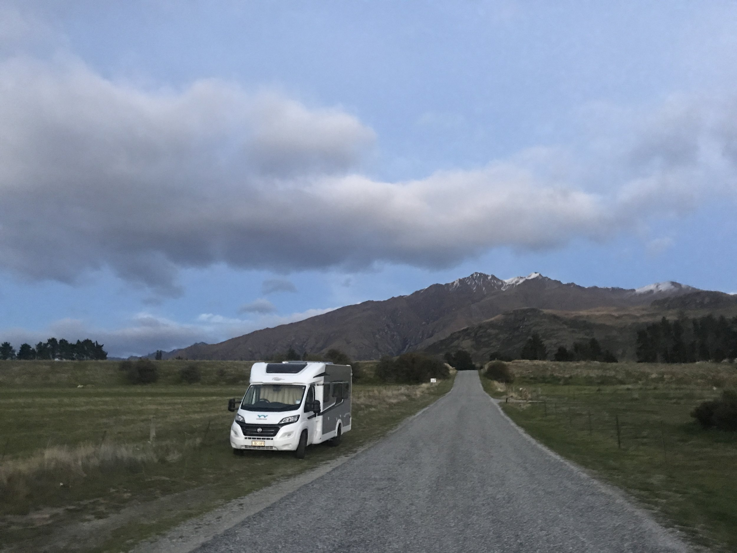 Camping roadside (responsibly - note, self-contained) near Lake Wanaka