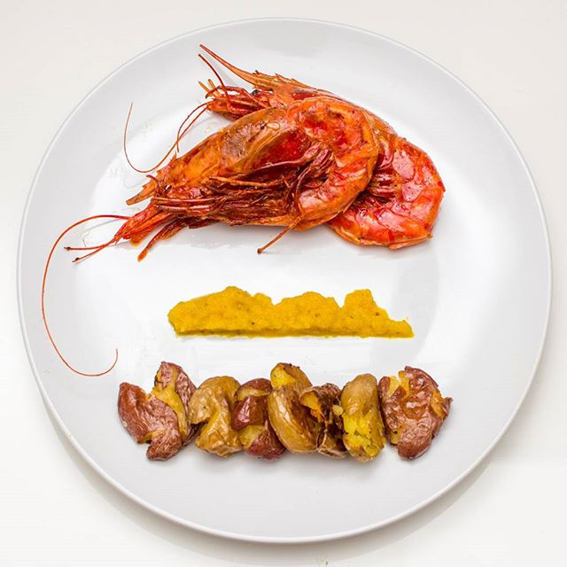 "U5 wild-caught Spanish Carabineros shrimp. ""These are coveted in Ibiza second only to the women."" Absolutely huge, and absolutely delicious.  Oh, and a smoky beet puree + smashed potatoes. But that's not important. @central_market wasn't messing around this week, so neither could I."