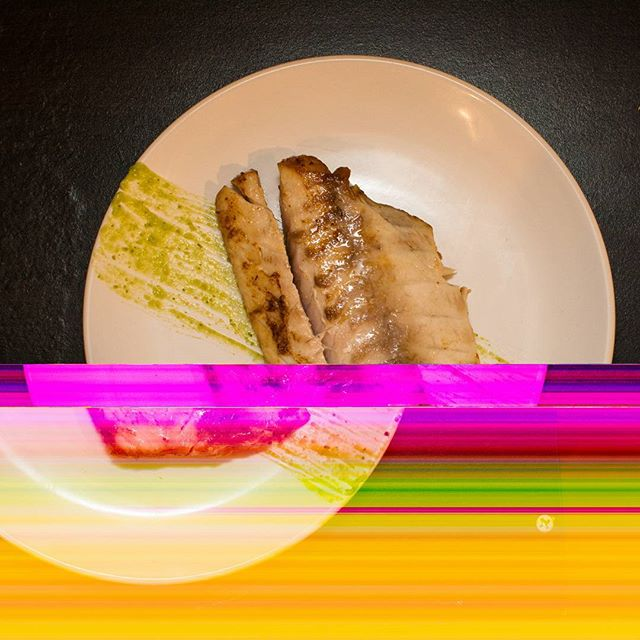 Ever had a DSLR die while writing a photo to the SD card? #fifthdimensionfood  This WAS some miso sous vide striped bass with an avocado/ginger/pepper sauce.