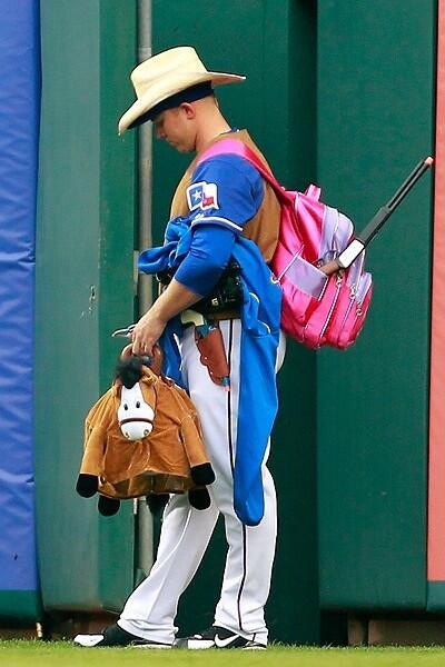 Cowboy/girl (questionable) rookie Robbie Ross loving his life.