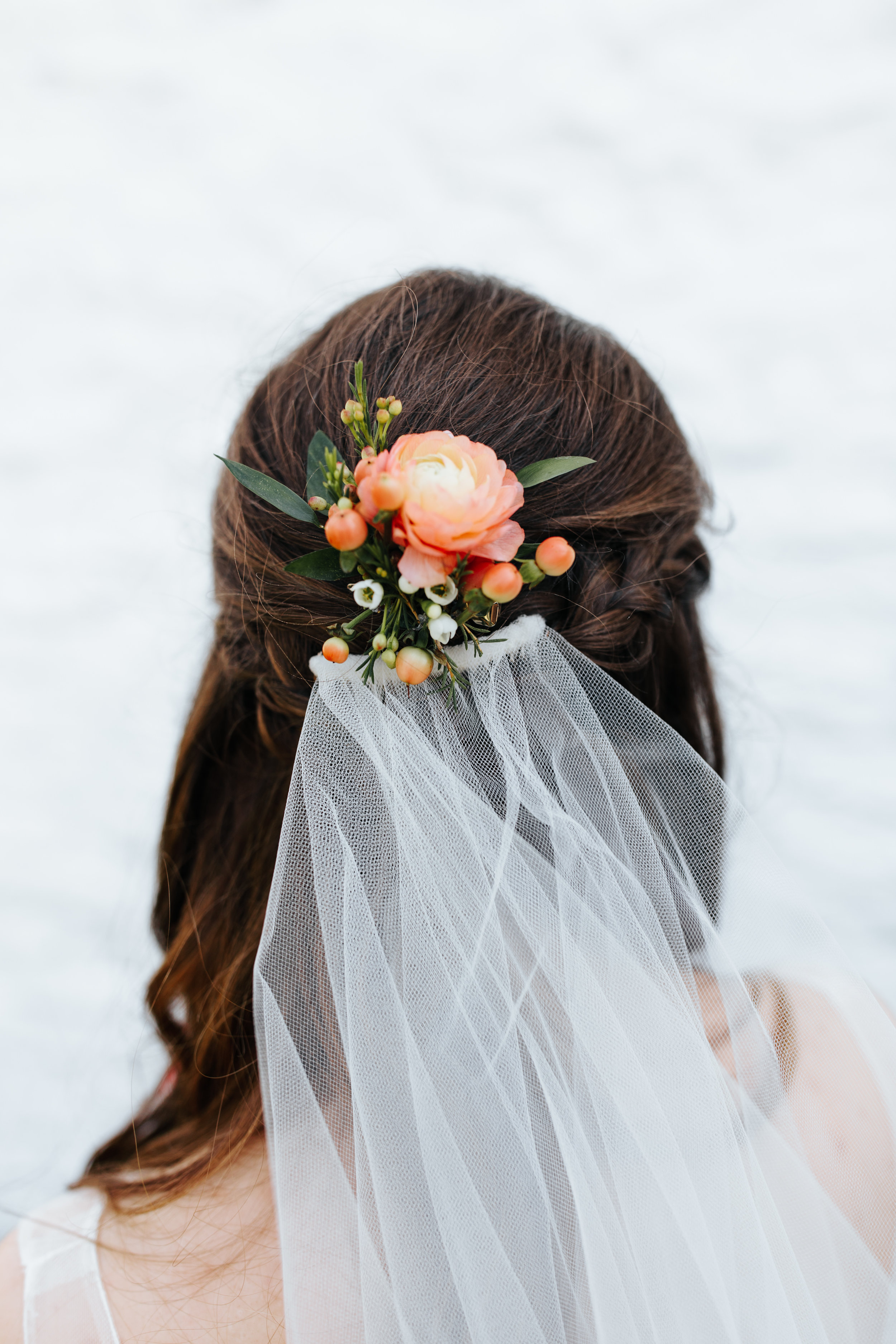 Ranunculus floral hairpiece for your wedding day.
