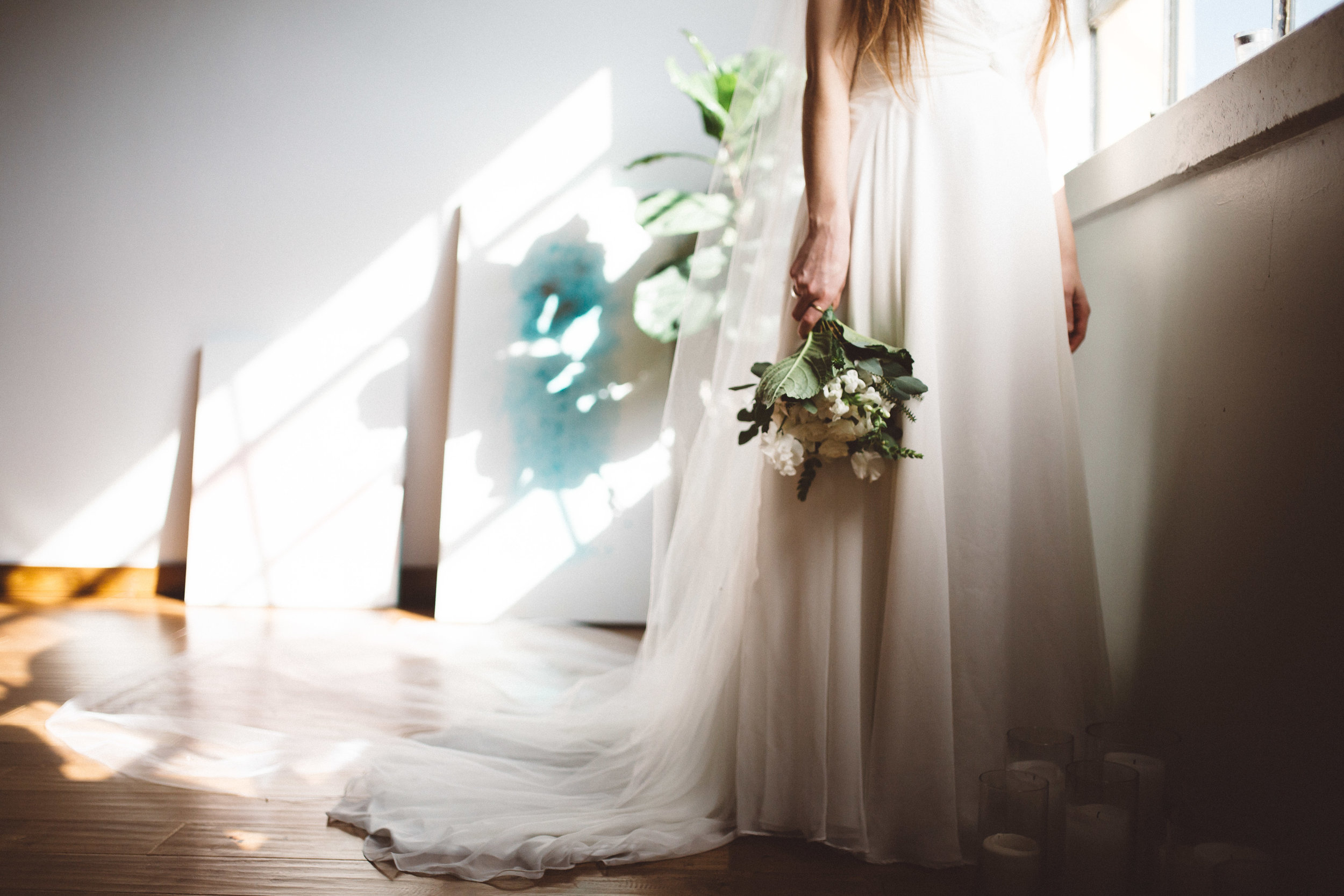 Light Pouring In On the Bride and Bridal Bouquet with Mela Photo