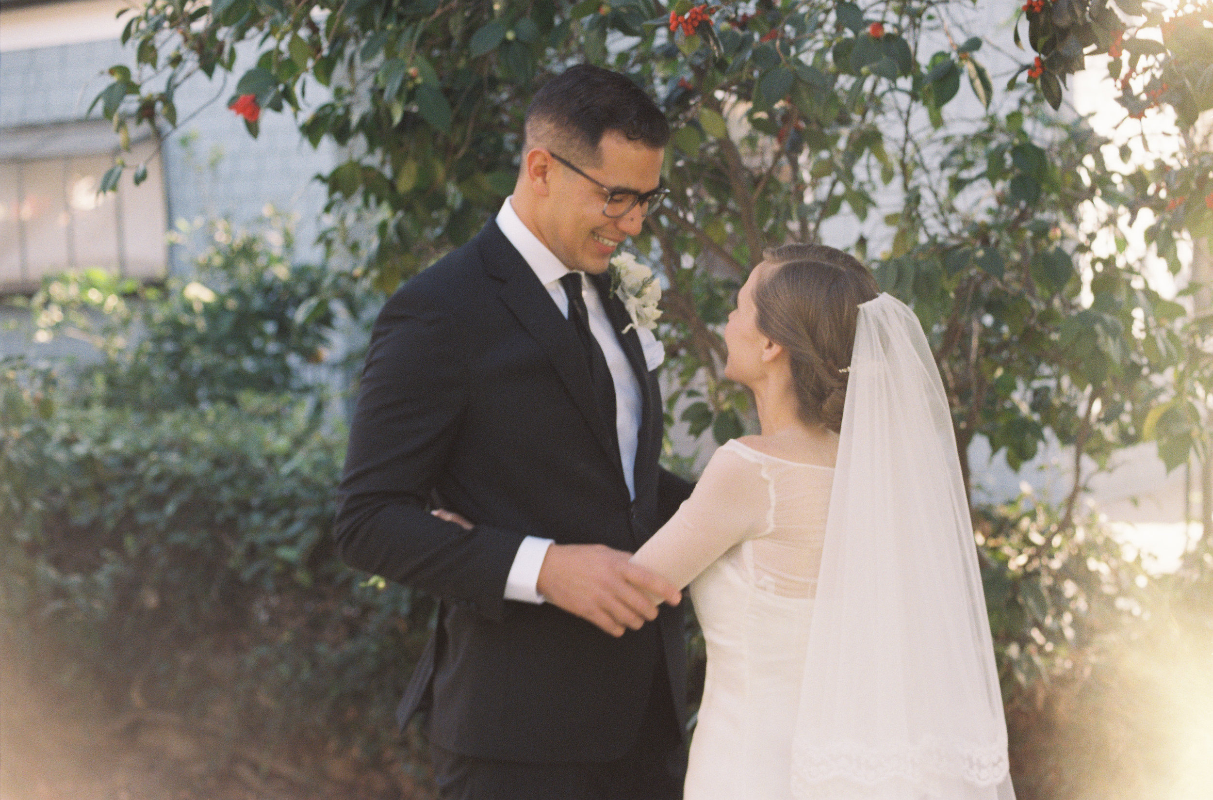 First Look Photo | Southern California Romantic Wedding Near Their Home | Unions With Celia | Amy & Darren Photography |