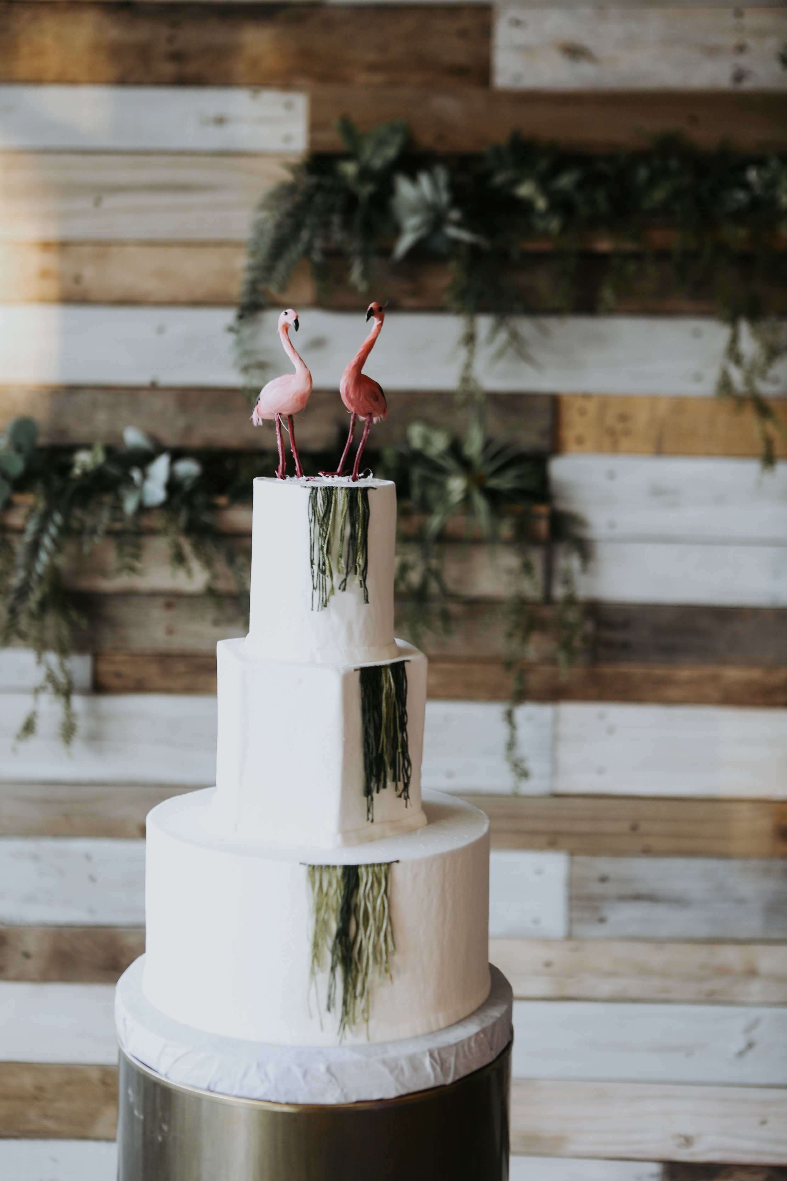 Flamingo Topped Wedding Cake - Natalee and Felicia - Unions With Celia Wedding Coordinator
