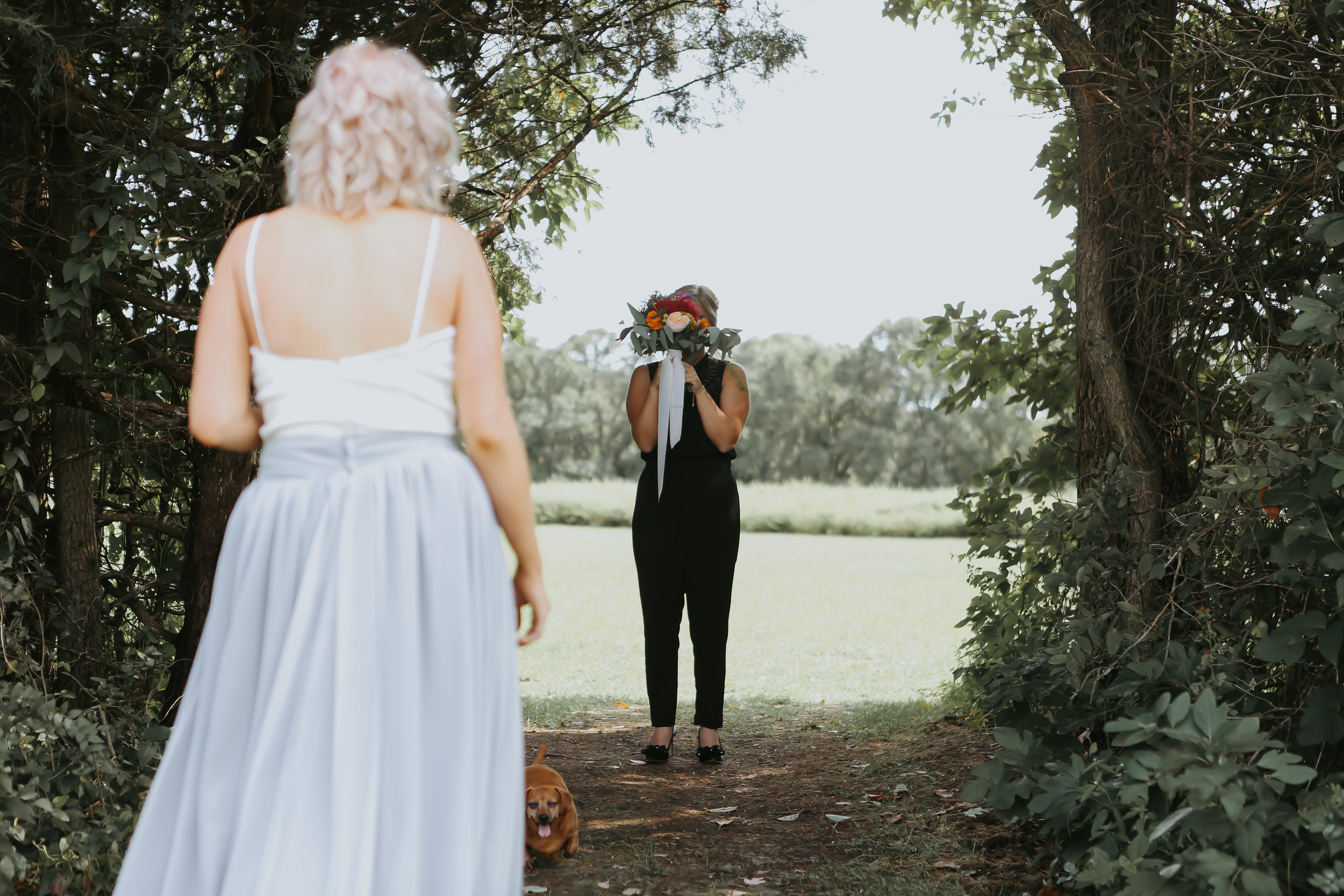 First look on a wedding day. Full service wedding planners help create up a comfortable, private, and meaningful first look.