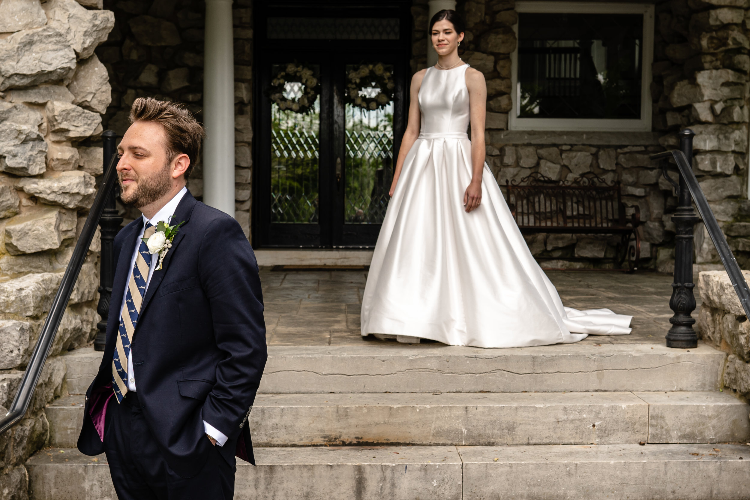 This emotional first look on this intentional wedding day was coordinated by the talented photographer and creative wedding planner at Haseltine Estate in Springfield, Missouri.