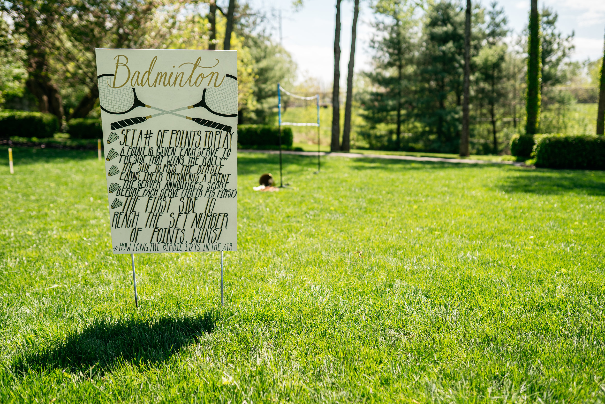 The couple incorporated their favorite lawn games into their garden party inspired wedding at Haseltine Estate. After their first dance and speeches, they made their way to play a game! Don't leave the fun just for your guests on your wedding day!