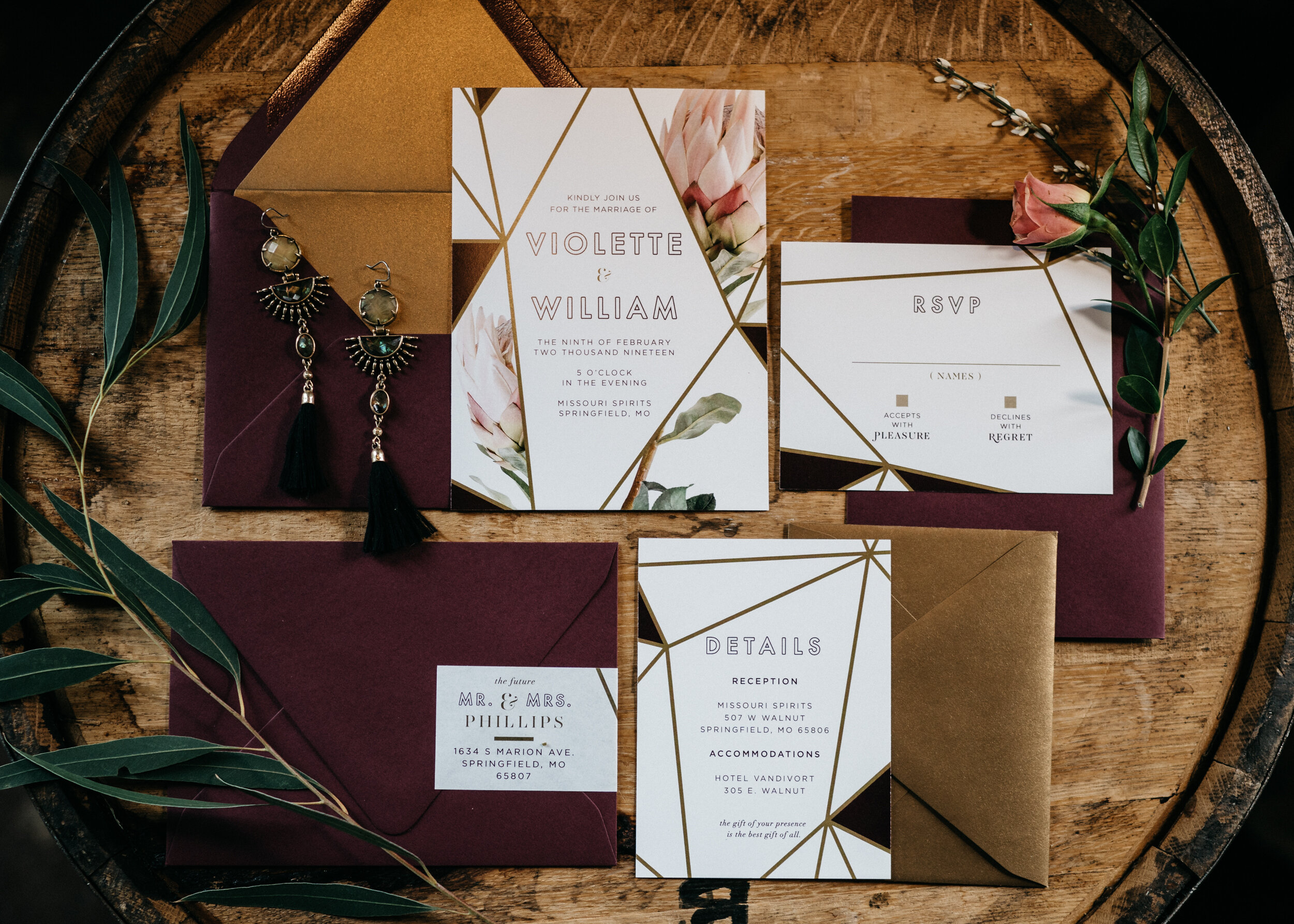 Invitation suite for spirited shoot at Missouri Spirits - Creative Wedding Planner Unions With Celia