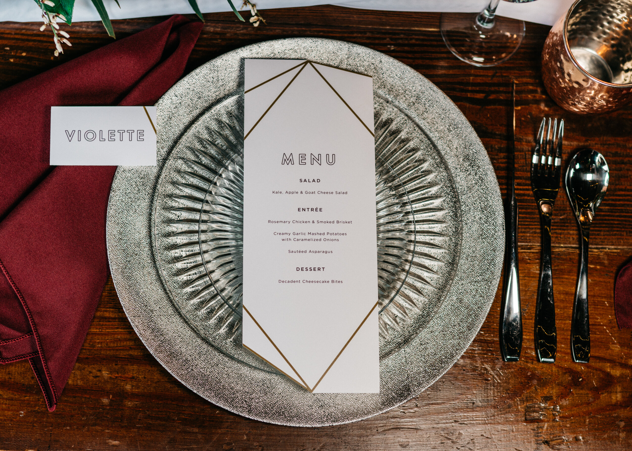 Modern menu for spirited shoot at Missouri Spirits - Creative Wedding Planner Unions With Celia