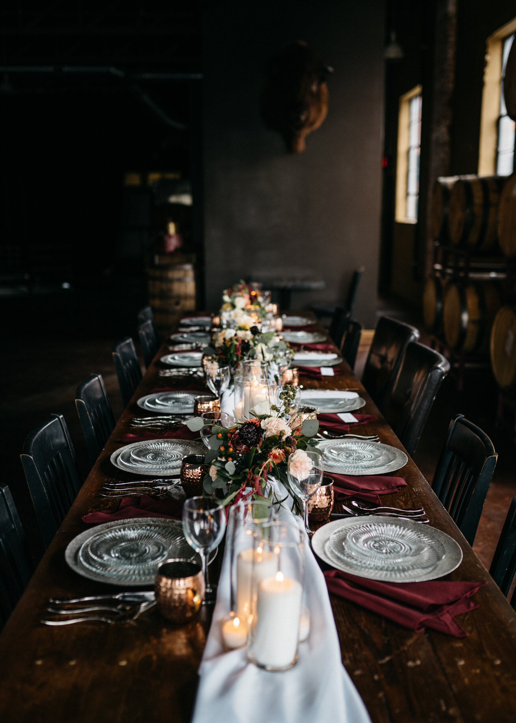 Table details for moody, romantic wedding