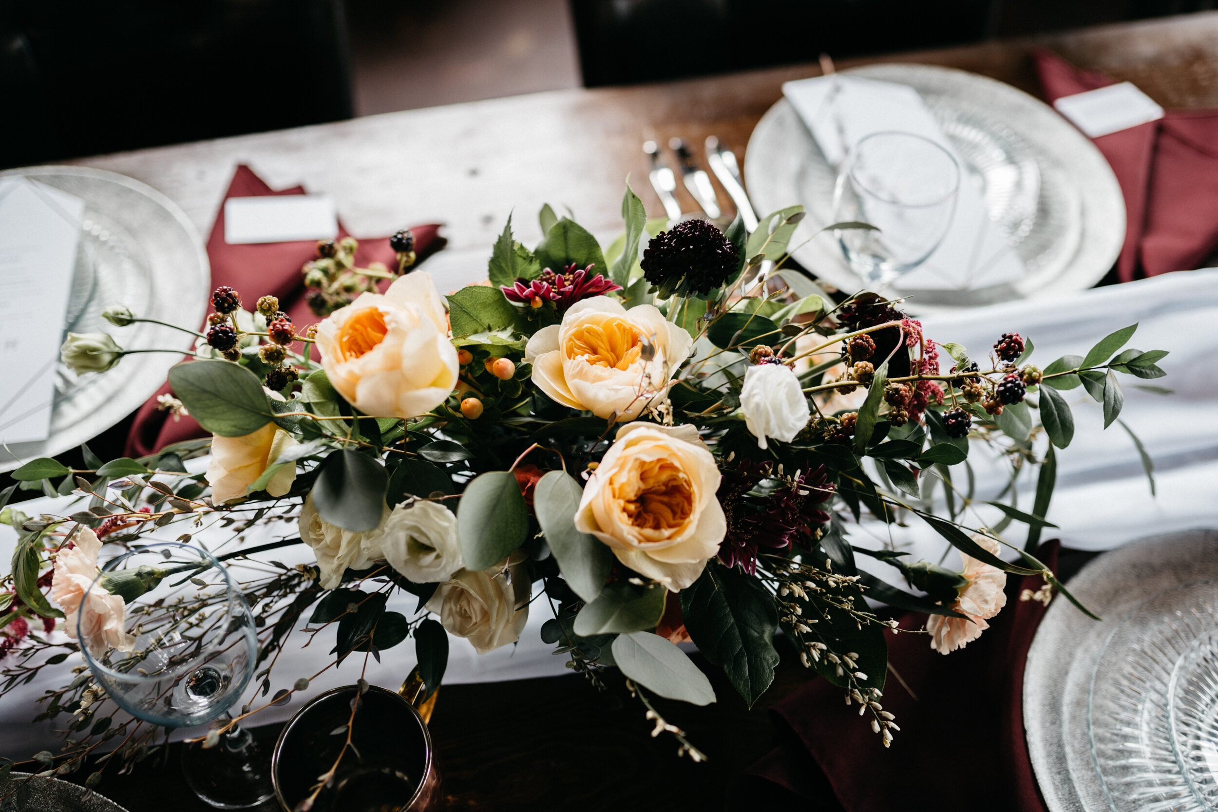 Table details for moody, romantic wedding - 3