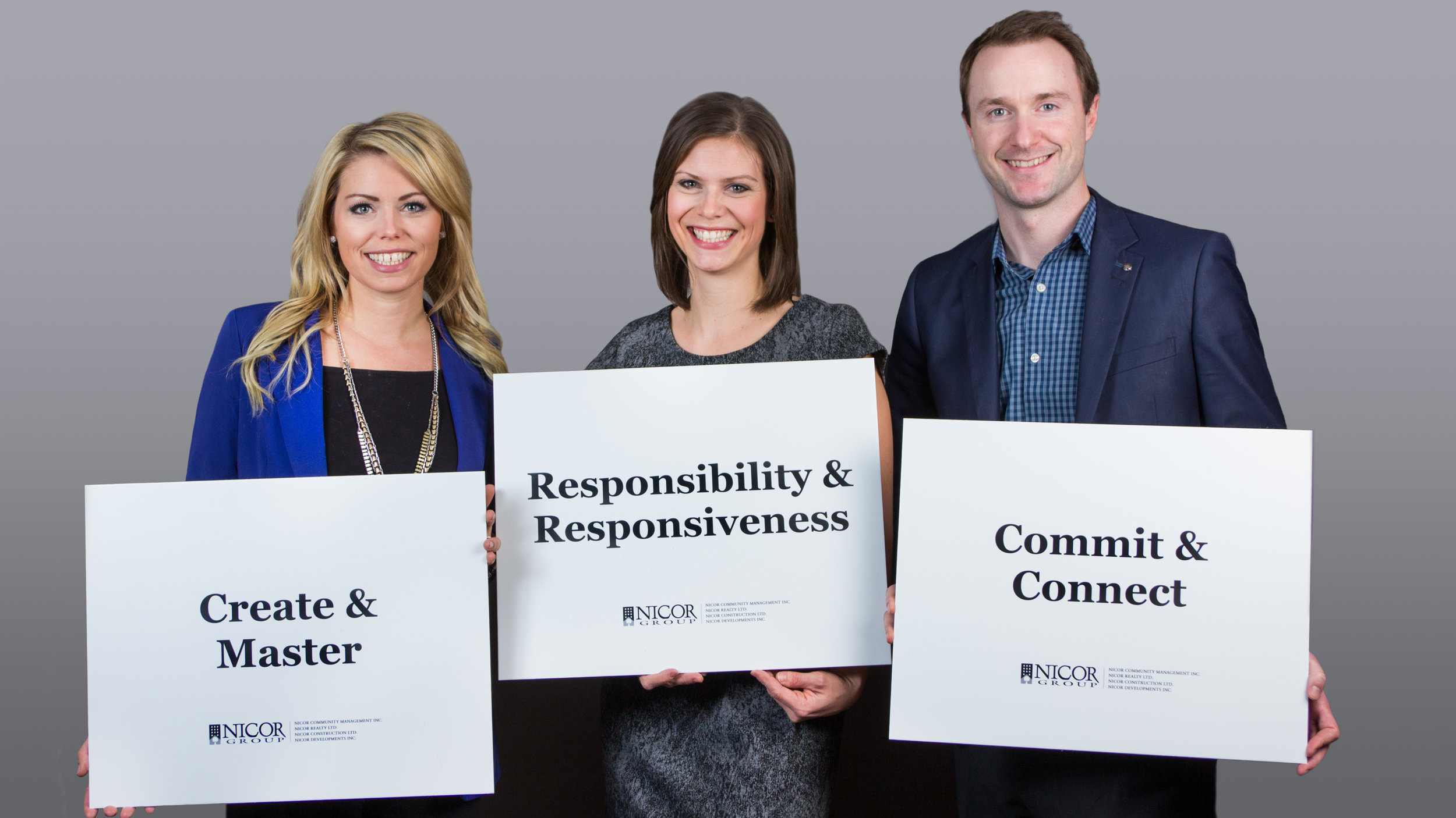 Nicor Group Company Values, displayed by Board Member Courtney Keith, COO Lindsay Torrie, and CEO Dan Torrie. (2017)