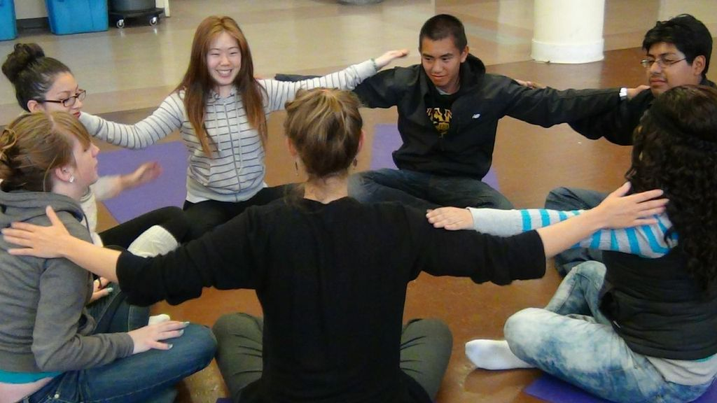 Yoga for Teens founder Erin Lila Singh leads a teen yoga class in San Francisco, CA