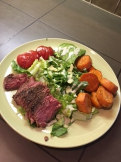 - Grilled steak, another favorite. When sliced and served on a bed of greens, its easy to make two meals out of one steak!