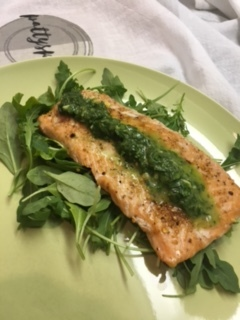 - Grilled Salmon, topped with Chimichurri Sauce. Serve on a bed of greens with arugula.