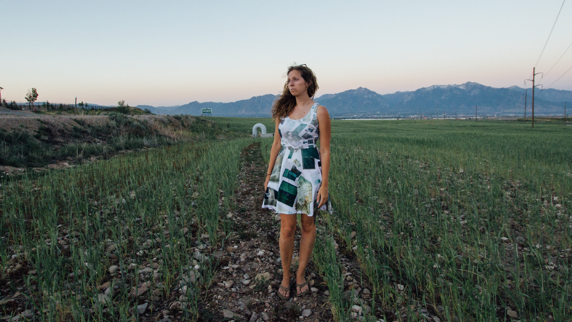 The Romance of Mining Dress  uses a collage of arial images of maps around Utah as a fabric pattern.