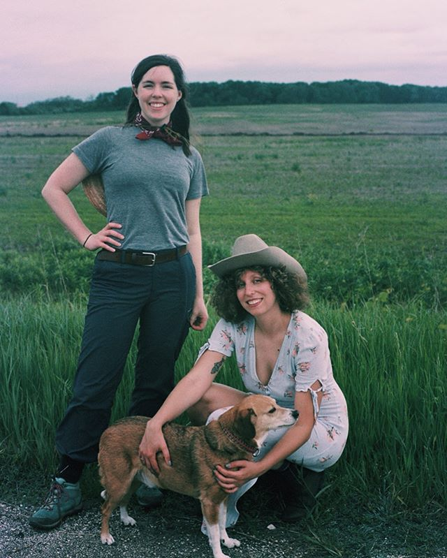 Here's Erin modeling a very important genre of prairie fashion: pants tucked in to socks. A film still that @_magadeth snapped of Erin, myself, and little baby tick-bait.