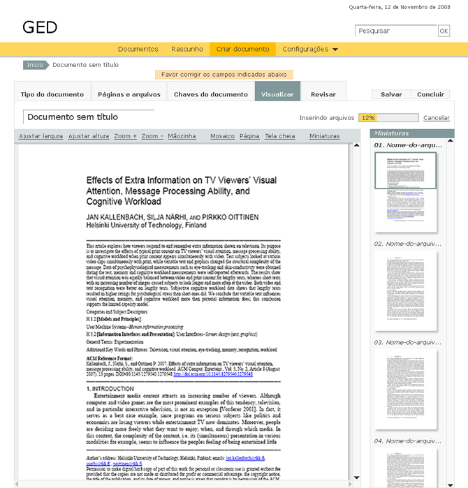 Ged document visualization