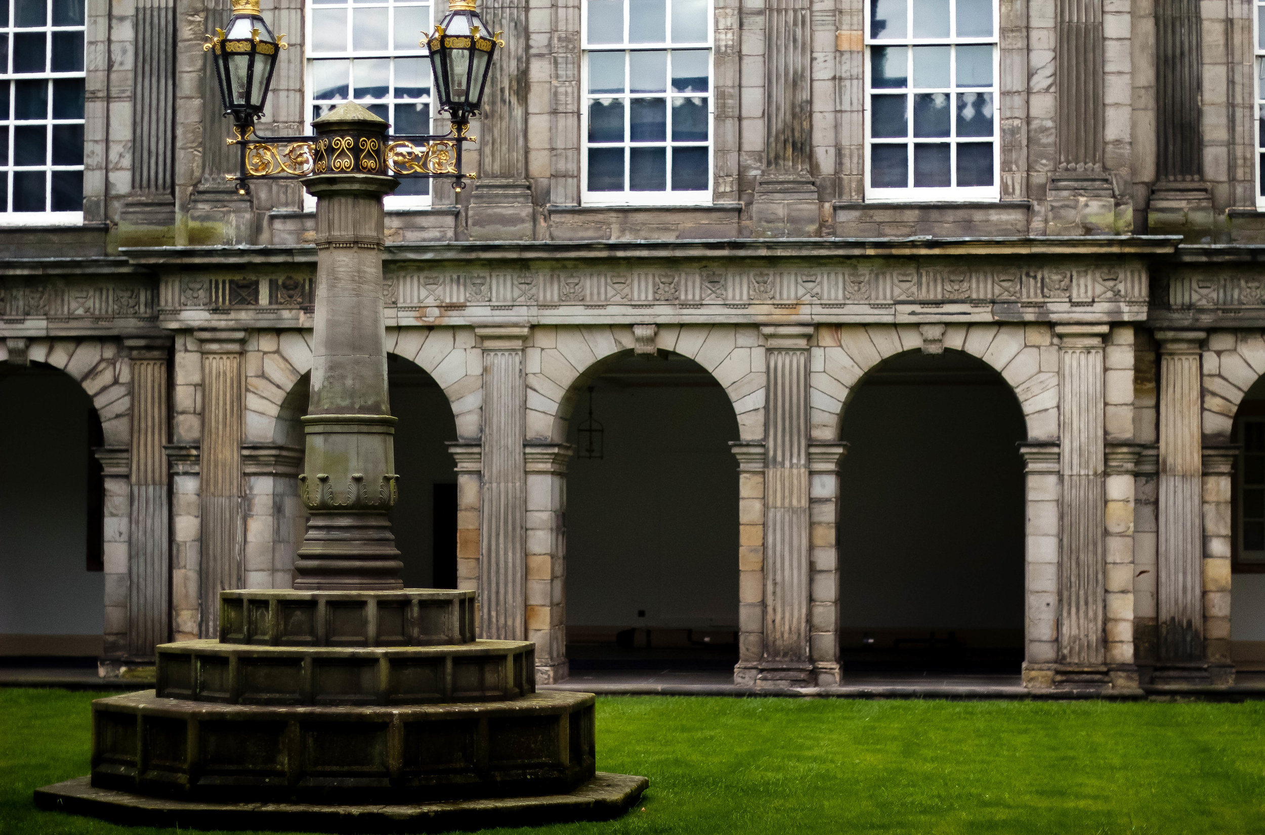 (The courtyard of Holyrood Palace--the only place that permitted photos within the palace)