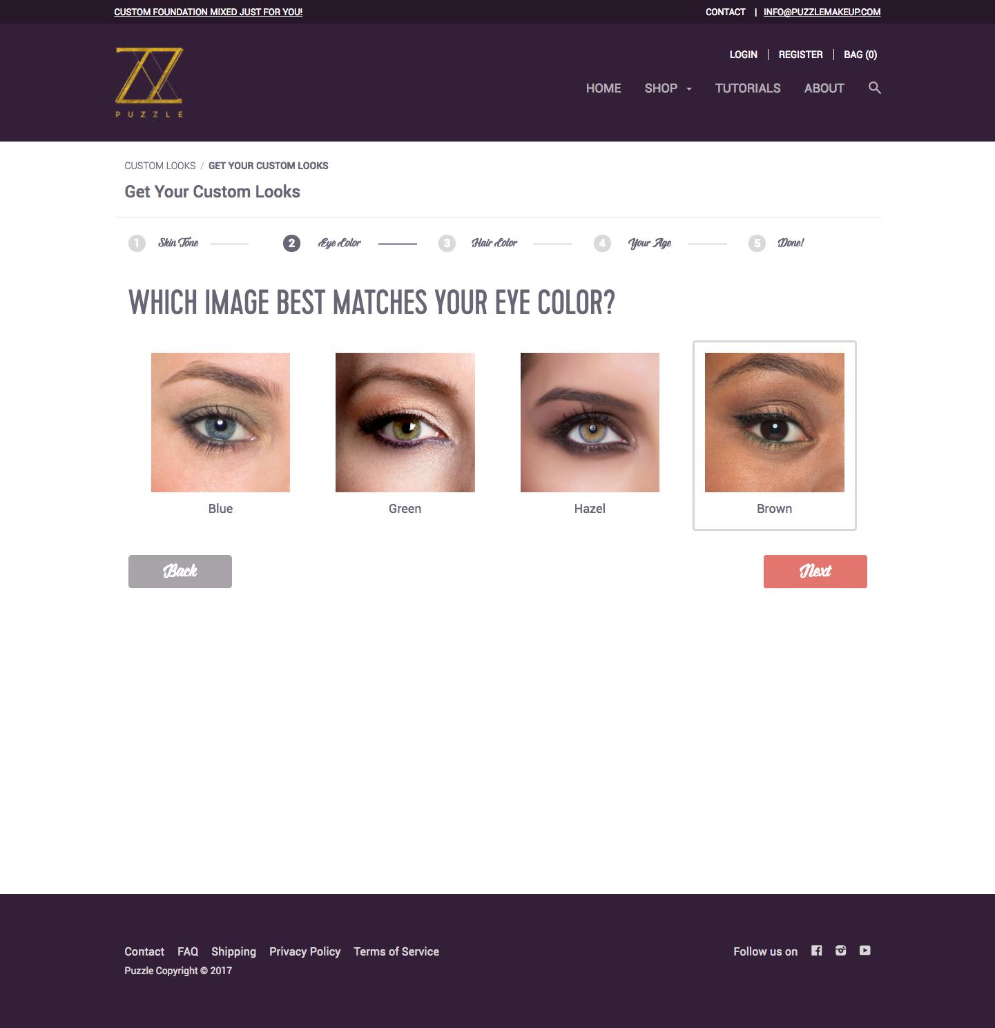 Custom Makeup Form: eye color