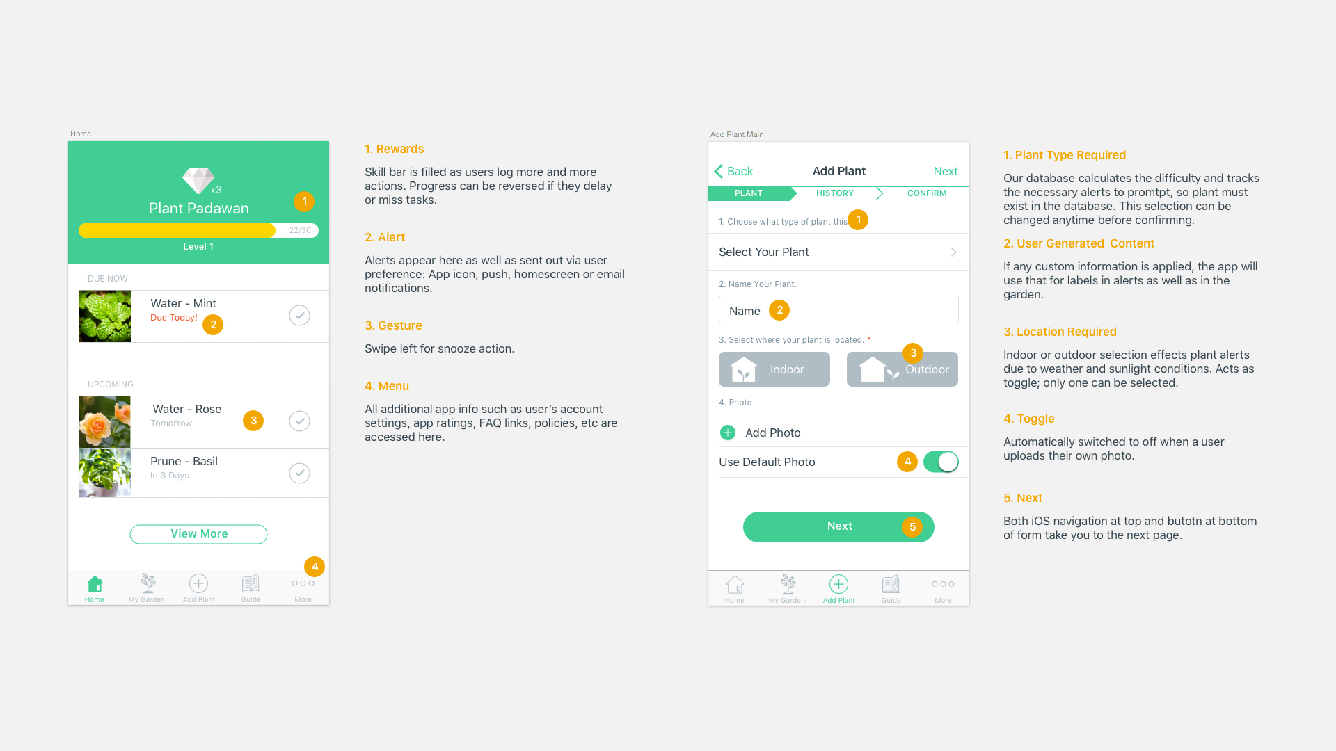 Annotated Wireframes