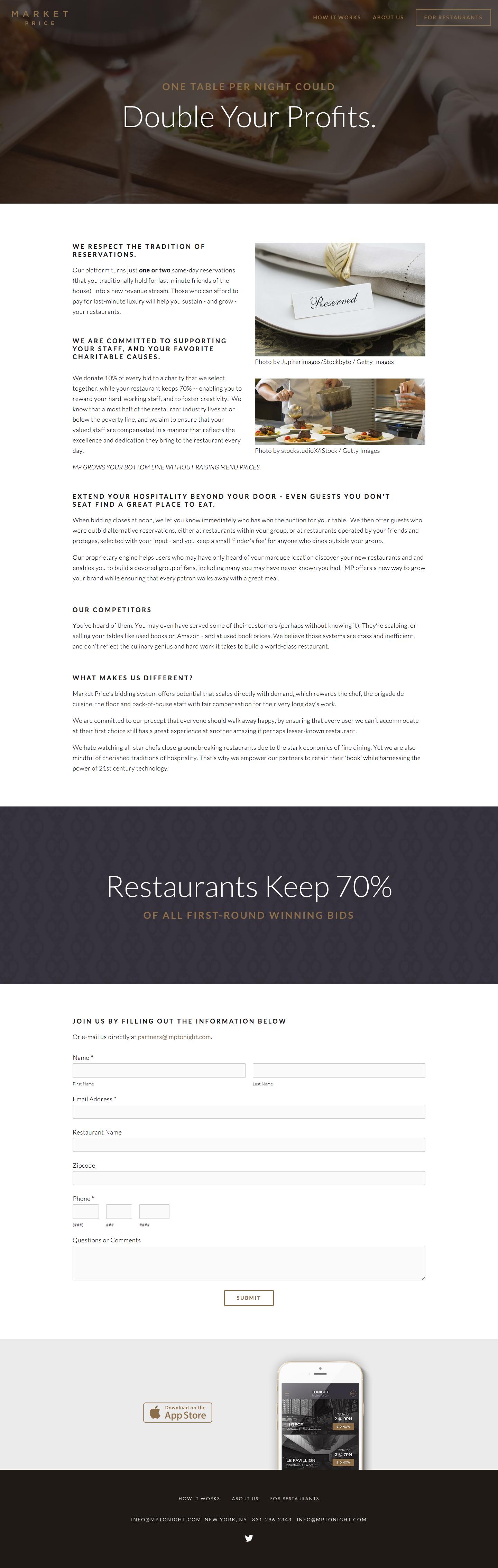 "Promotional website ""For Restaurants"""